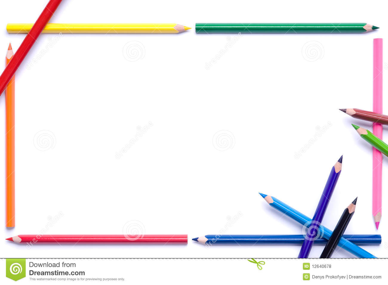 Royalty Free Stock Photos Pencils Frame Image12640678 on Yellow Objects Clipart For Kids
