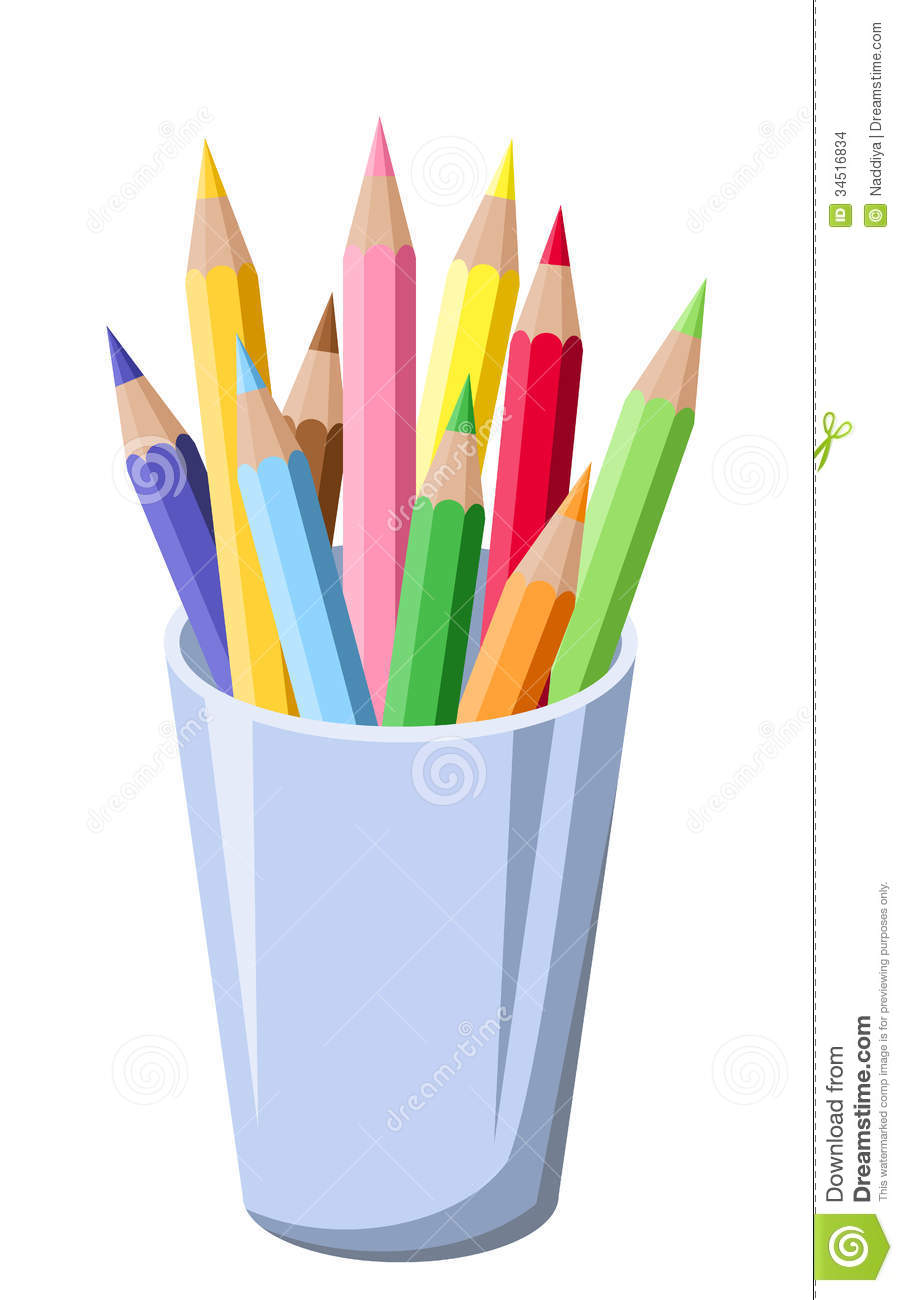 Pencils In A Pot Stock Vector Illustration Of Drawing