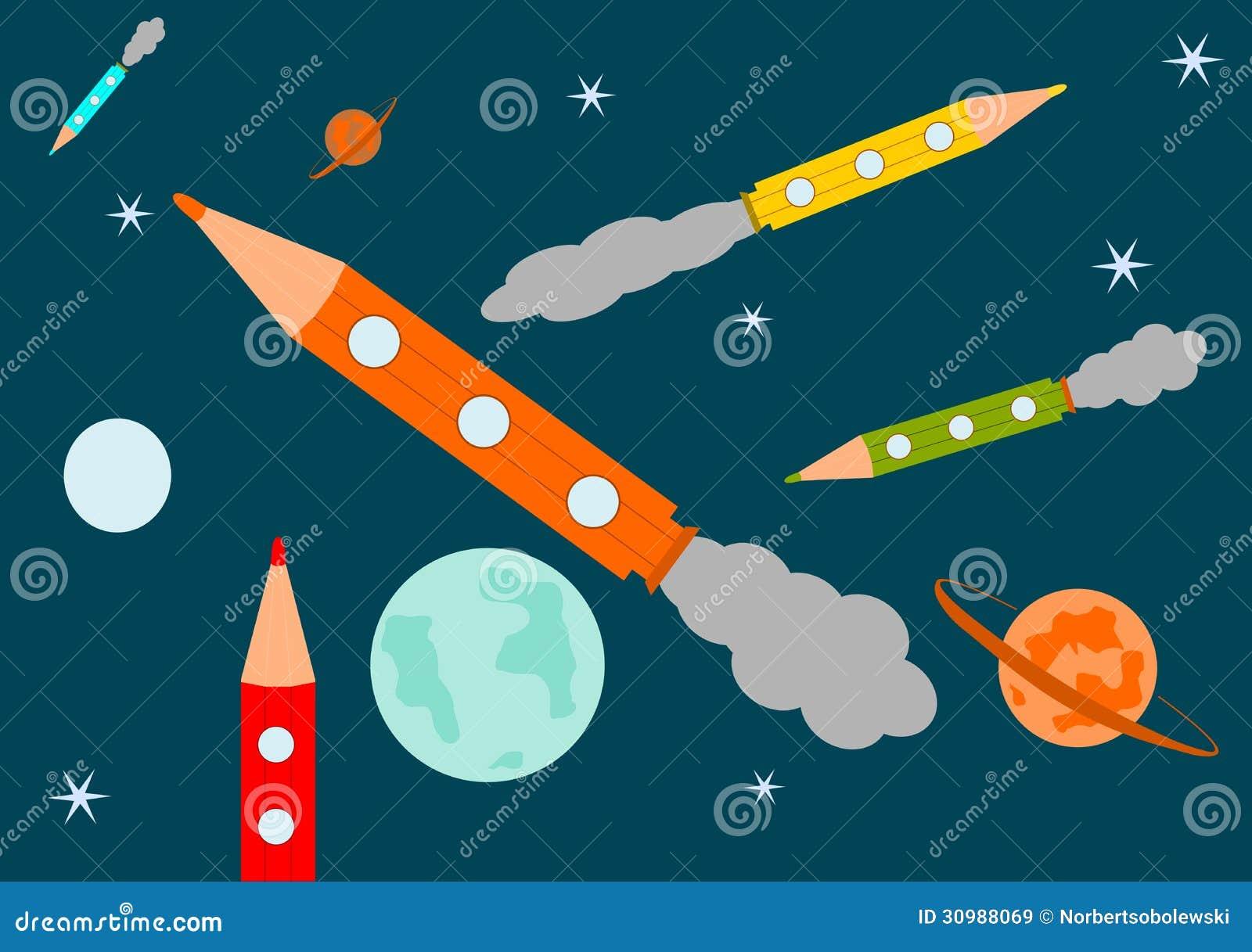 Pencils-rocket In Spac...