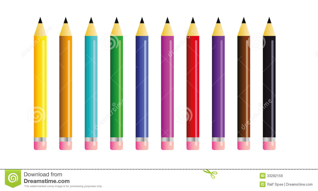Pics Photos School Clipart Books Pencils Color - Vector shapes of ten colored pencils