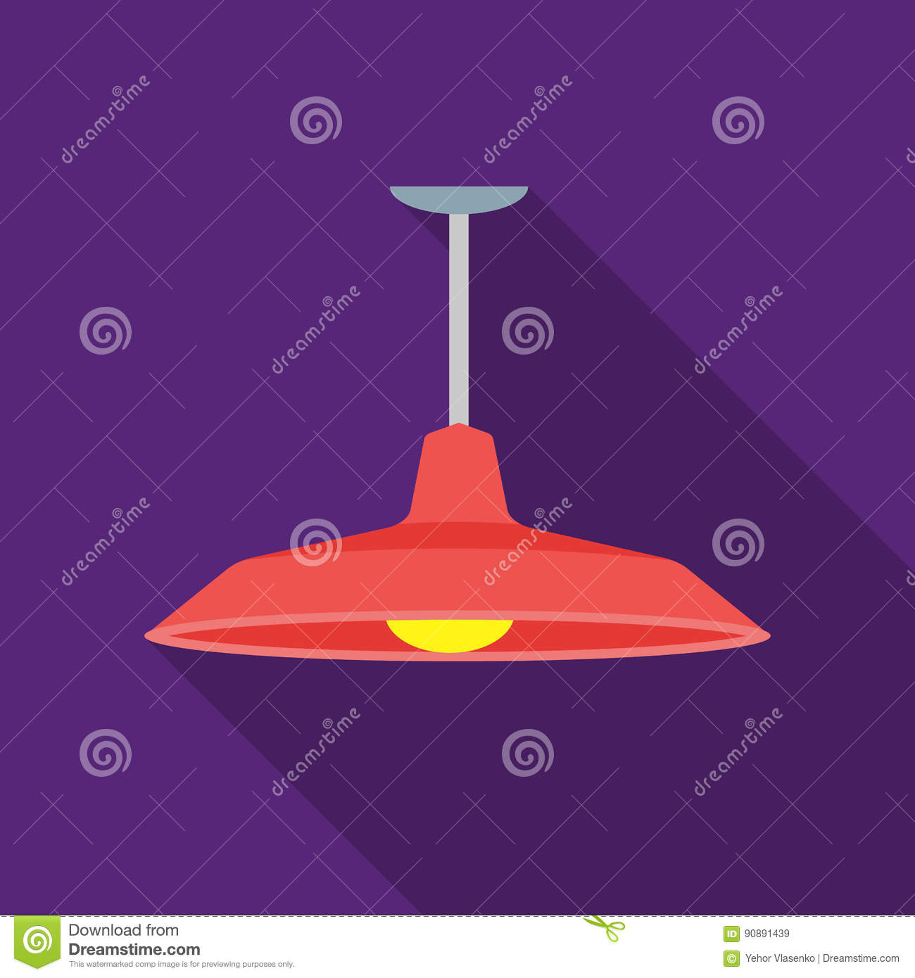 Pendant Light Icon In Flat Style Isolated On White Background