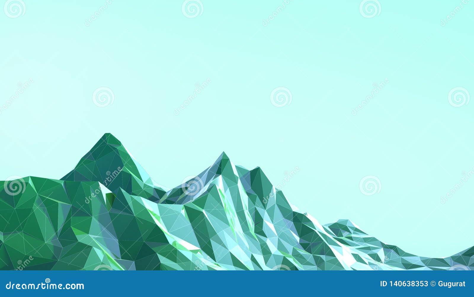 Pendenza bassa di arte del paesaggio della montagna poli psichedelica con il blu variopinto su fondo