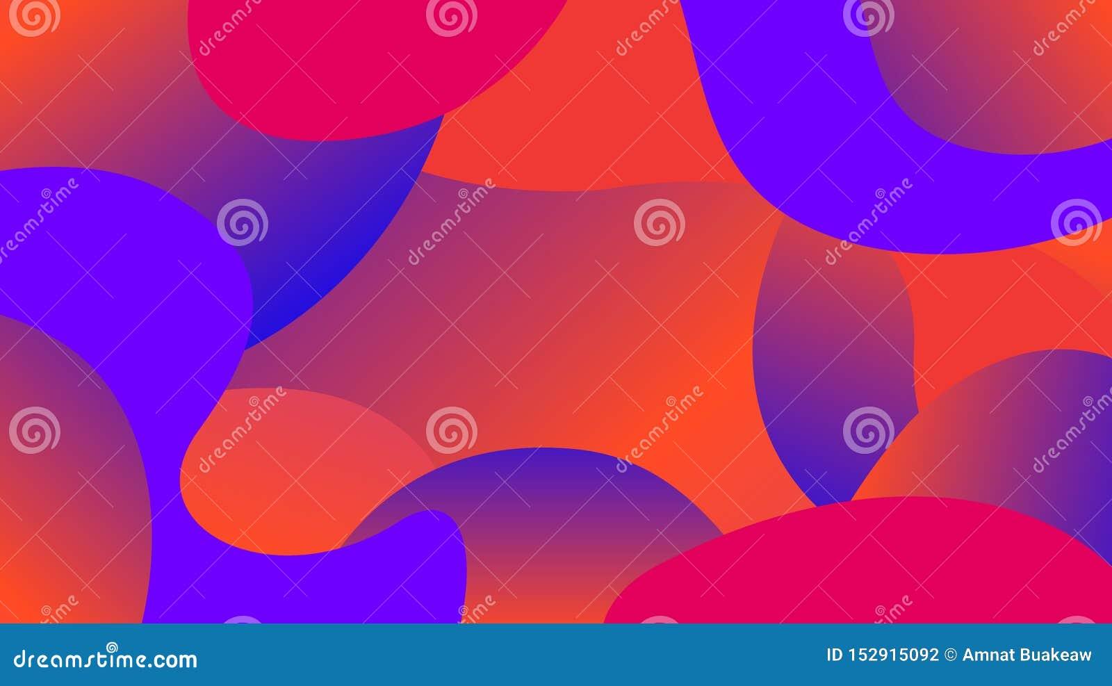 Pendiente colorida de las formas de la forma libre, endecha plana de la gota de la onda simple de la geometría, colores ondulados