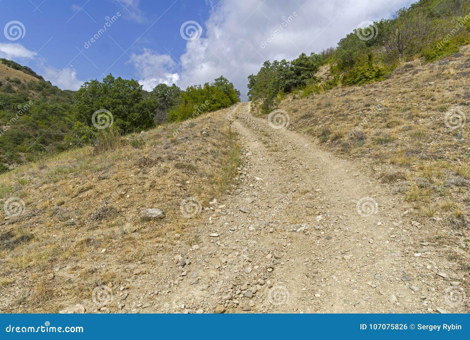 Pendiente escarpada en un camino de tierra