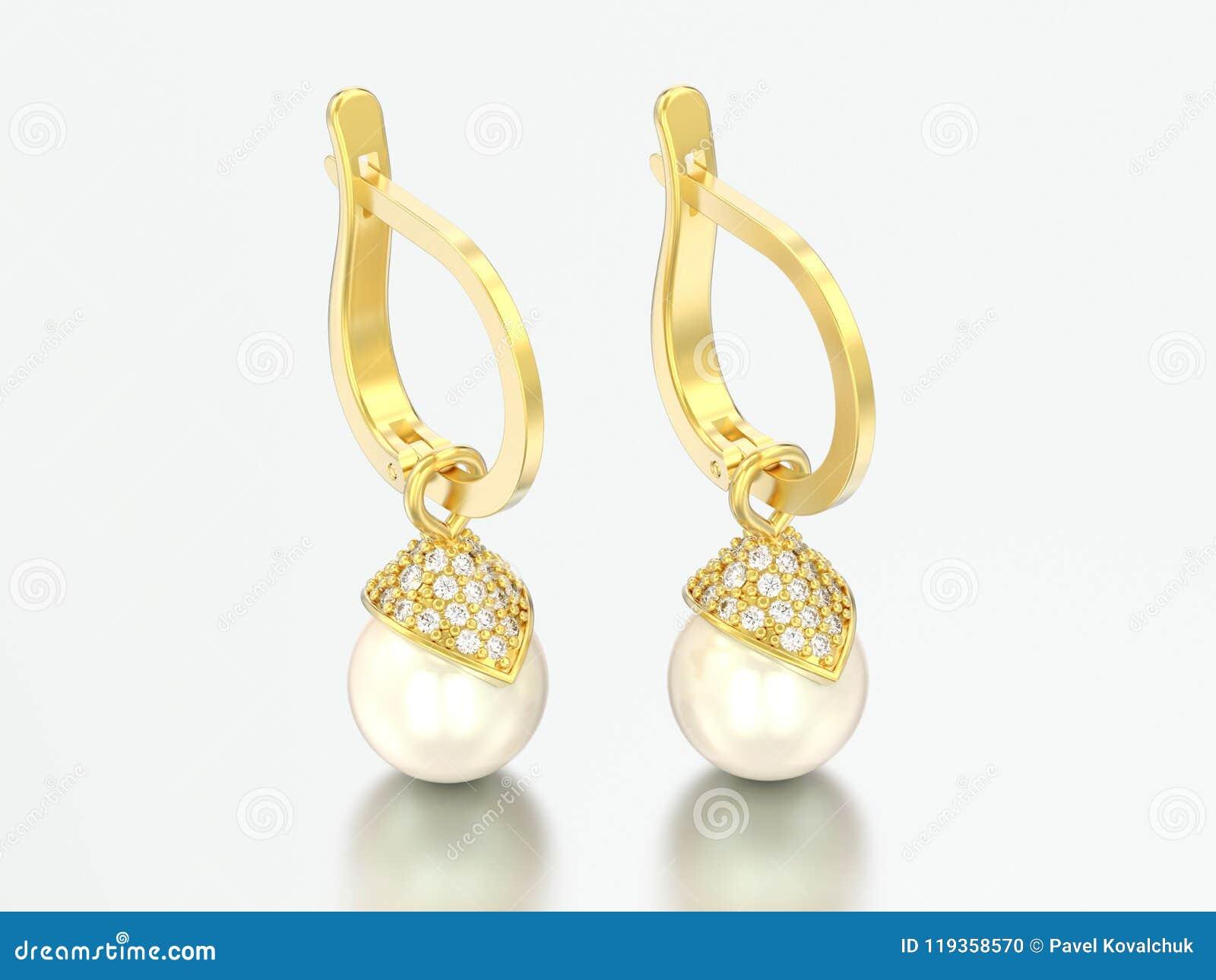 Perla y pendientes de diamantes en oro Amarillo
