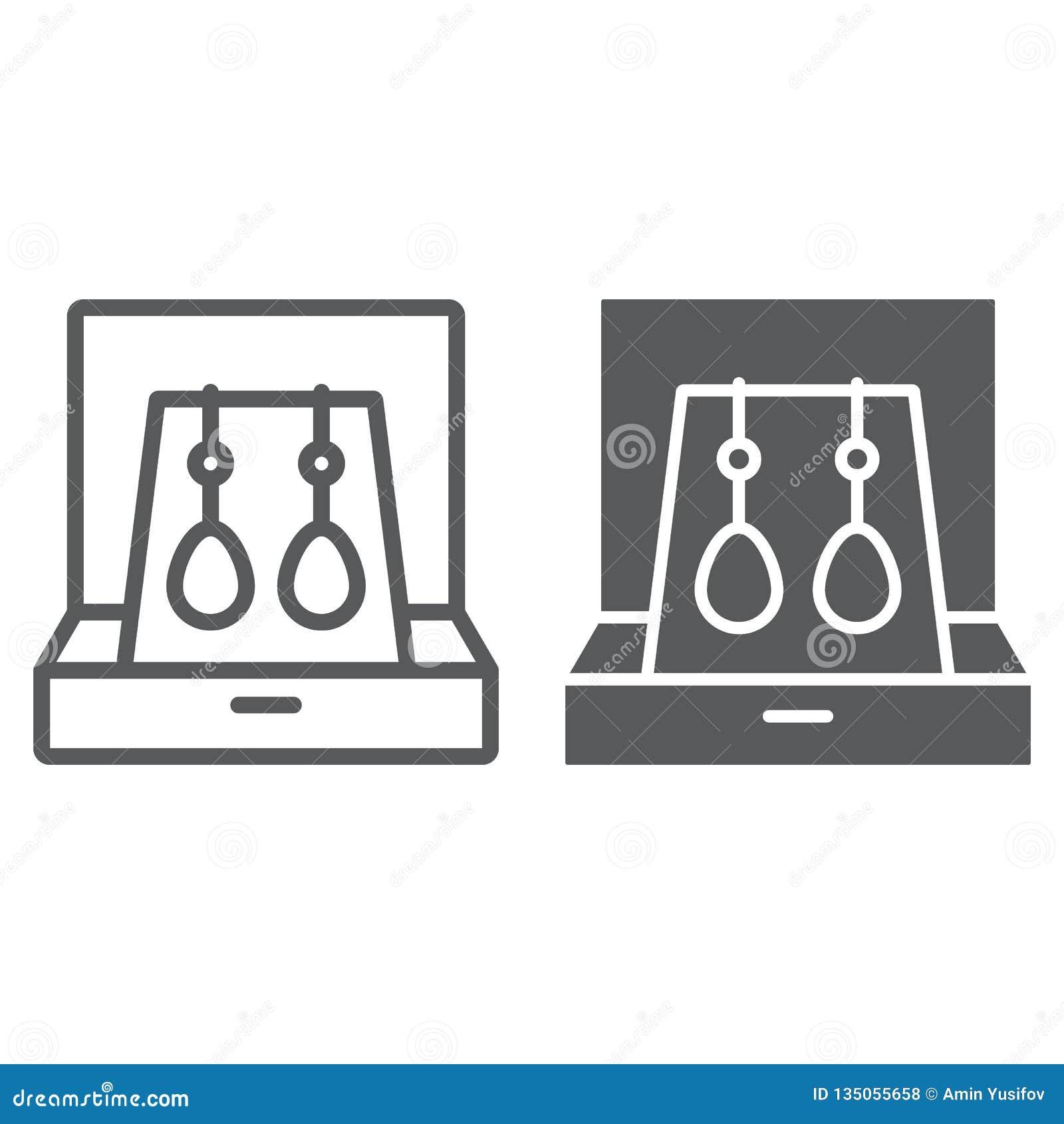 Pendientes en línea de la caja e icono del glyph, joyería y accesorio, caja de regalo con la muestra de la joyería, gráficos de v