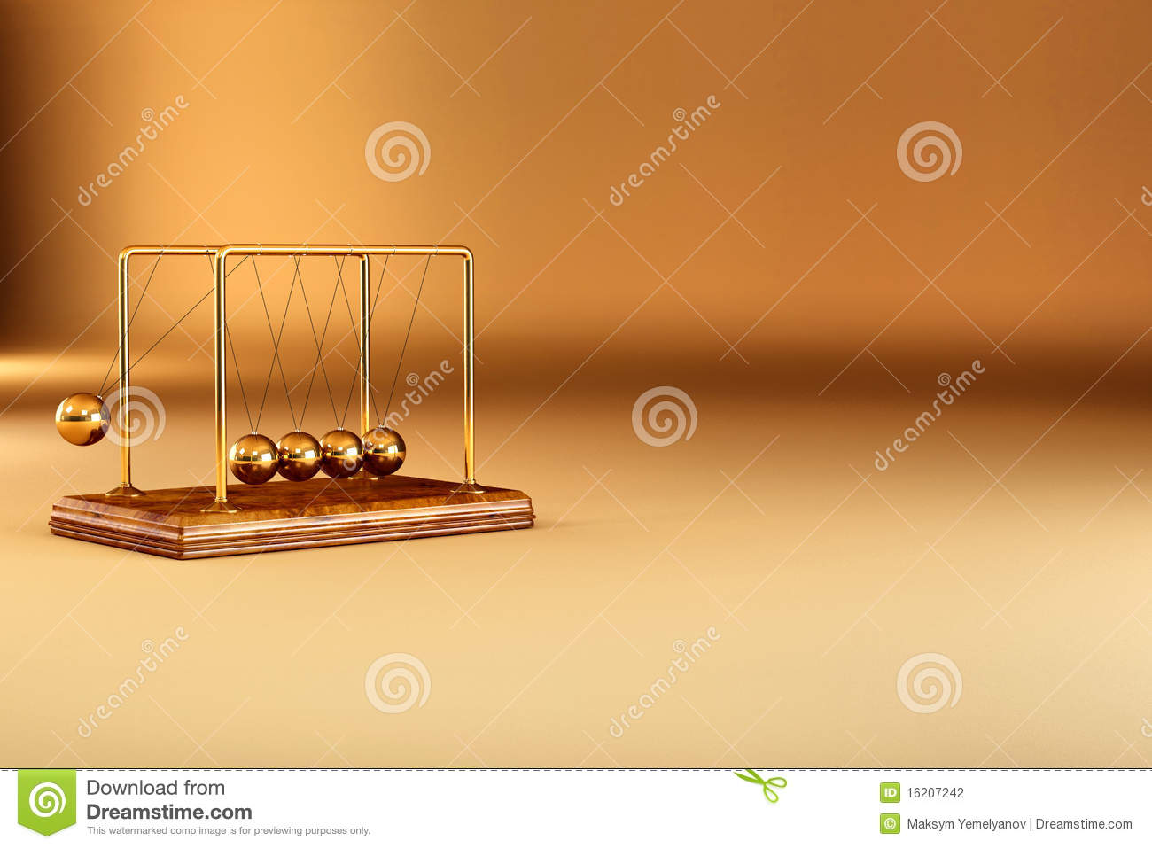 Perpetual motion. Pendulum on yellow background. 3d.