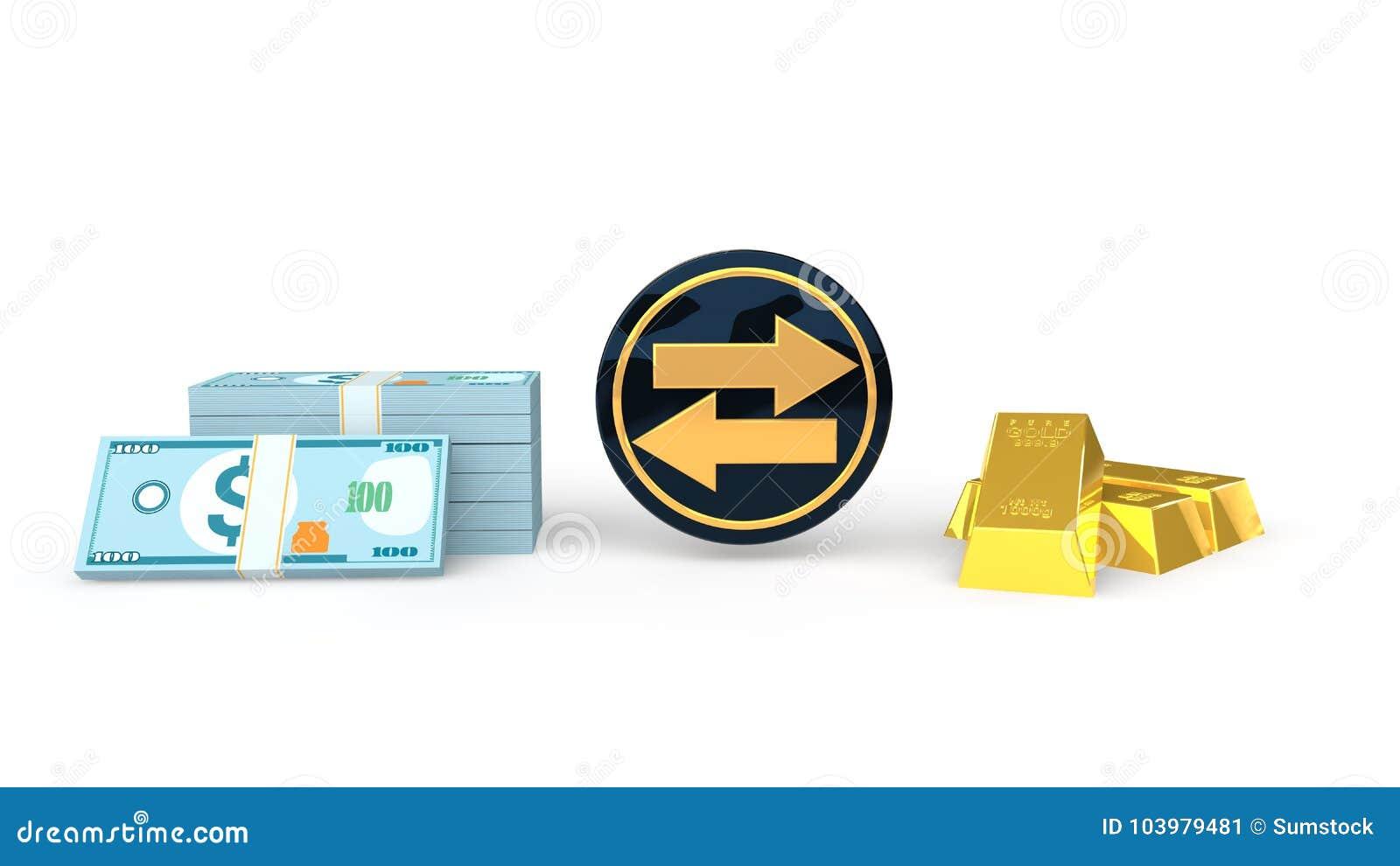 Pengar 3d och begrepp för guld- utbyte