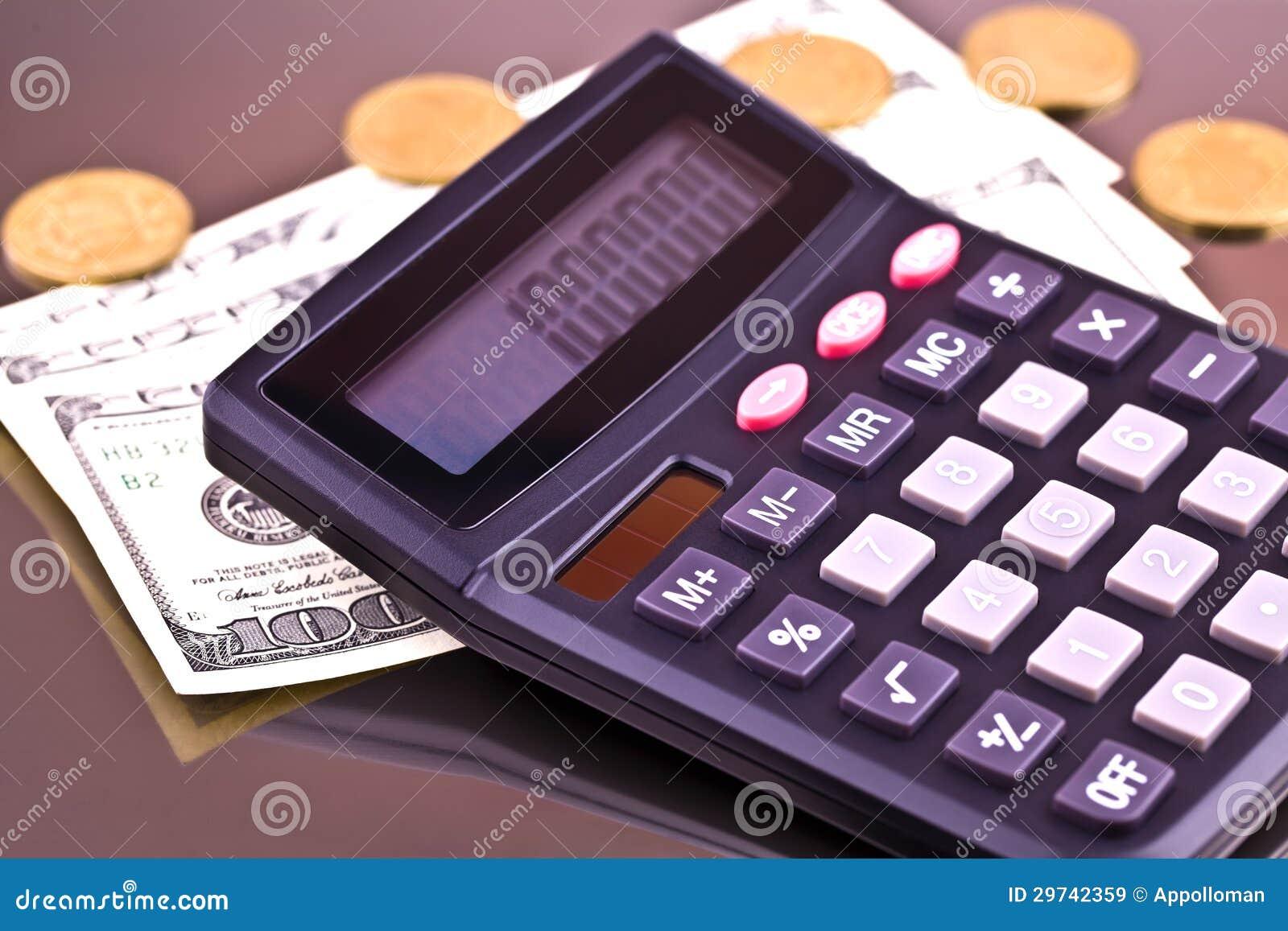 Pengar och räknemaskin