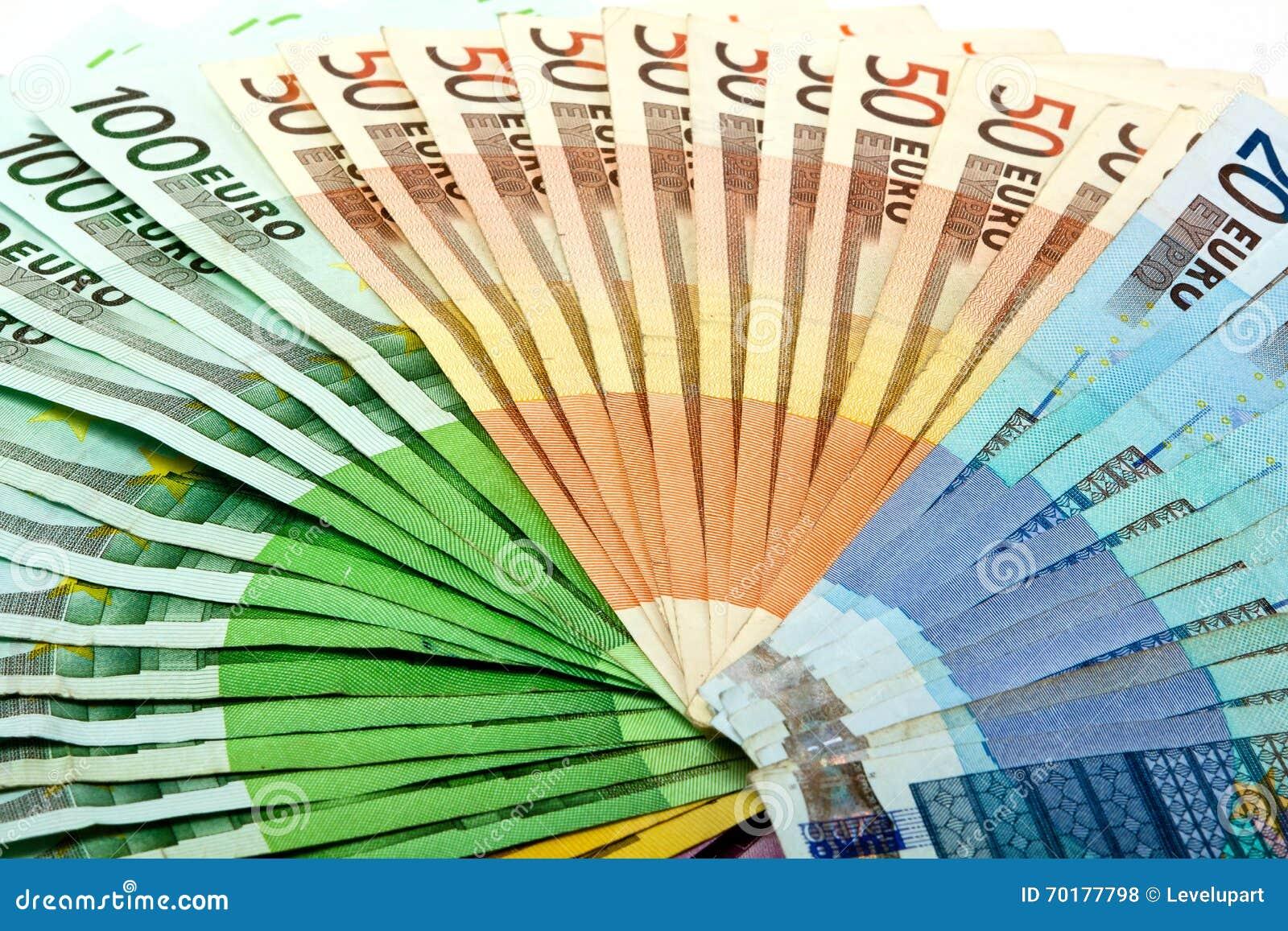 Pengarfanen från olikt euro fakturerar 500 200 100 50 20