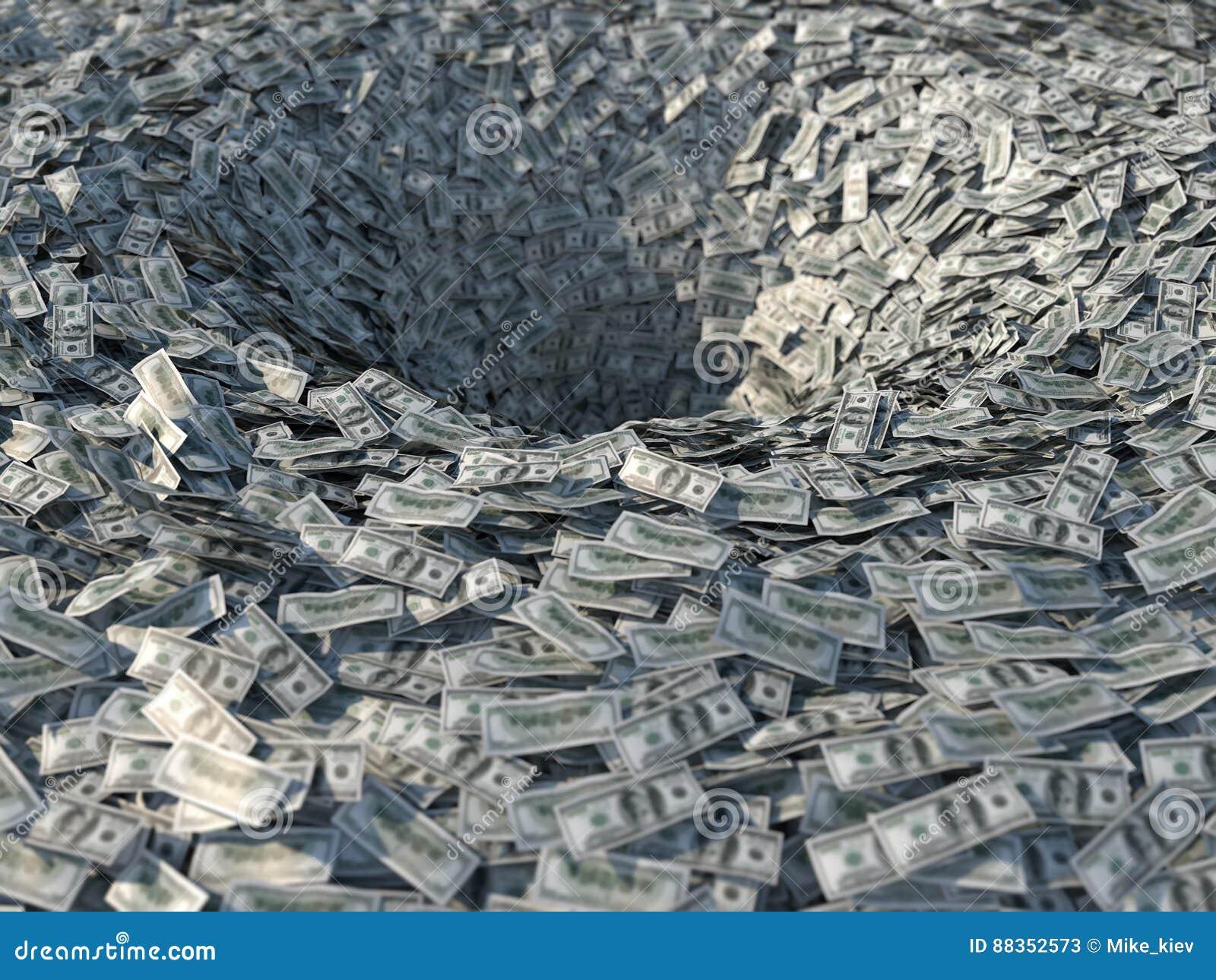 Pengarflöden in i en tratt
