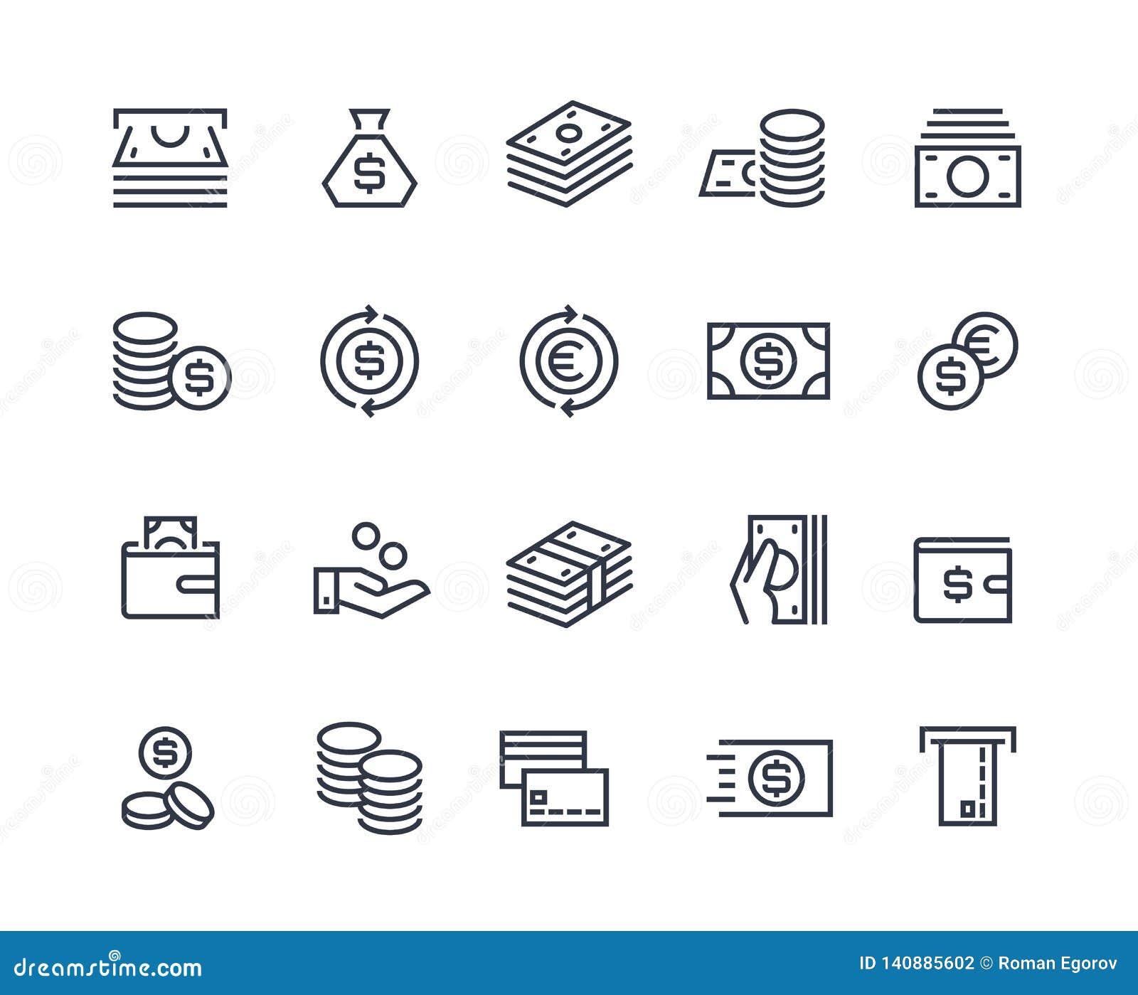 Pengarlinje symboler Utbyte för marknad för affärsbetalningpengar kommersiellt Plånbok för kassakort, myntvektorsymboler