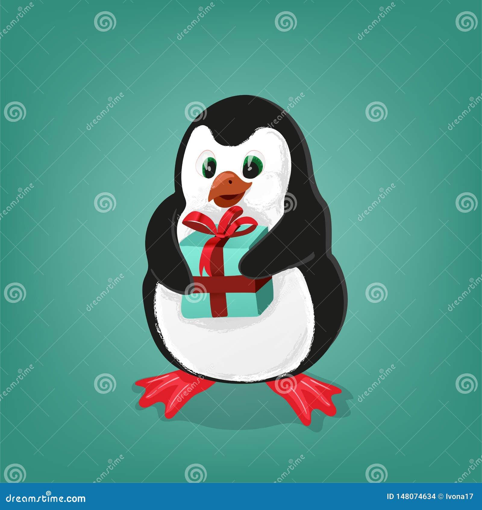 Penguin με την παρούσα διανυσματική απεικόνιση καρτών Χριστουγέννων