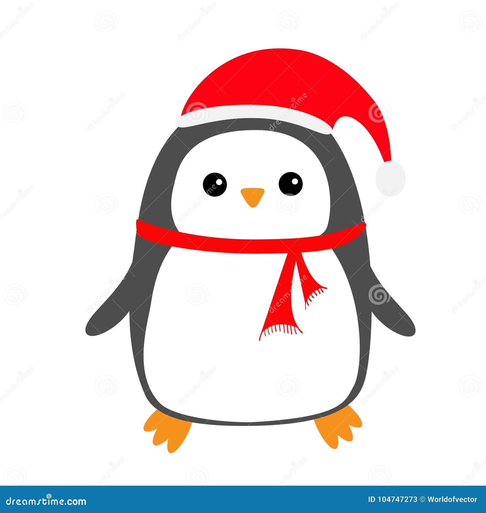 c701d8b77db6f Penguin Bird On Snowdrift. Red Santa Claus Hat