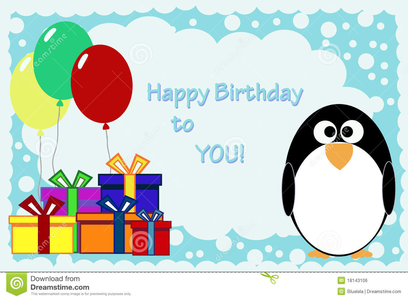 Penguin Birthday Card Royalty Free Stock Image - Image: 18143106