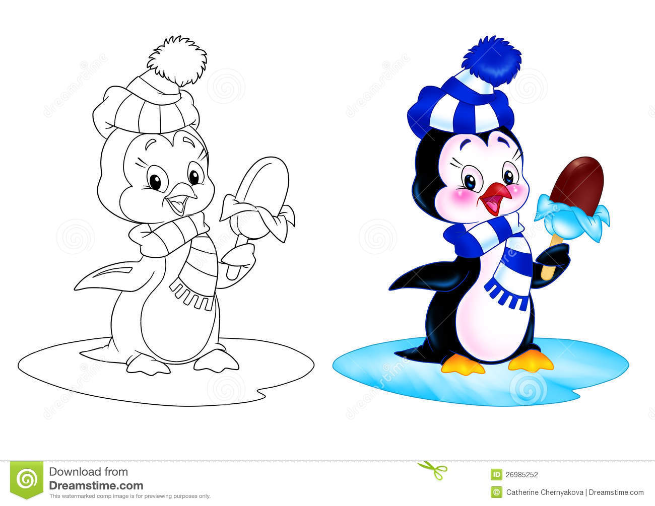 Penguin of eating ice cream while standing on an ice floe cartoon ...