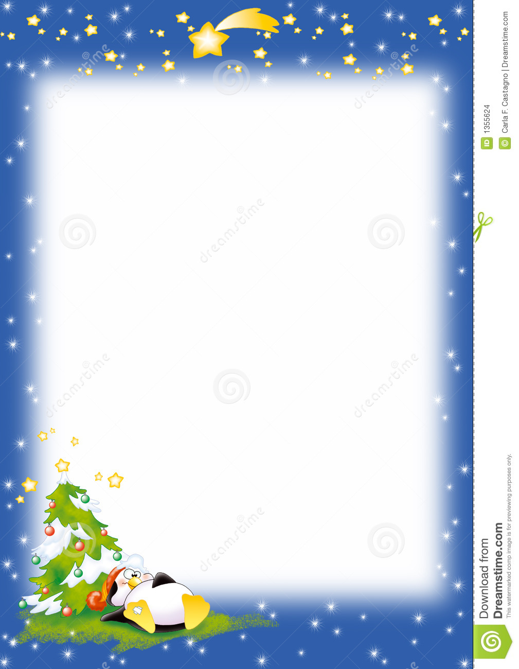 Blue Christmas background with humorous penguin, tree and comet. Good ...