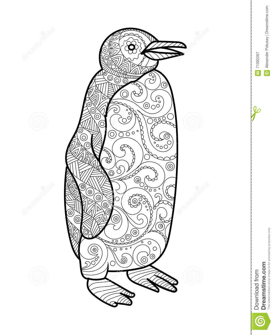 Penguin coloring book for adults vector stock illustration image