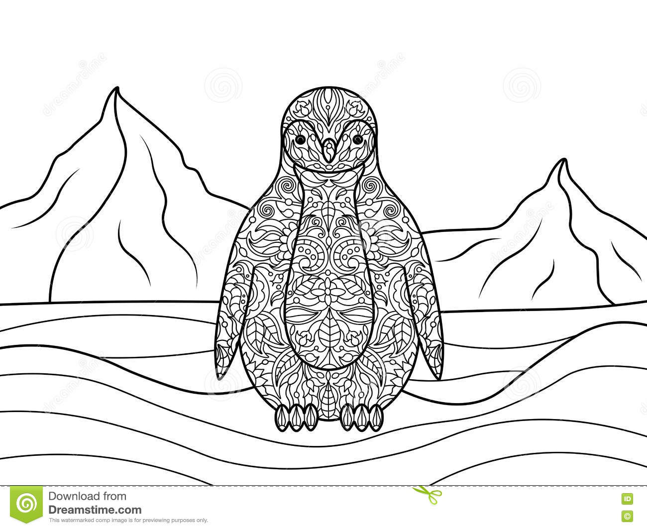 Free Vector Illustration Juniper: Penguin Coloring Book For Adults Vector Stock Vector