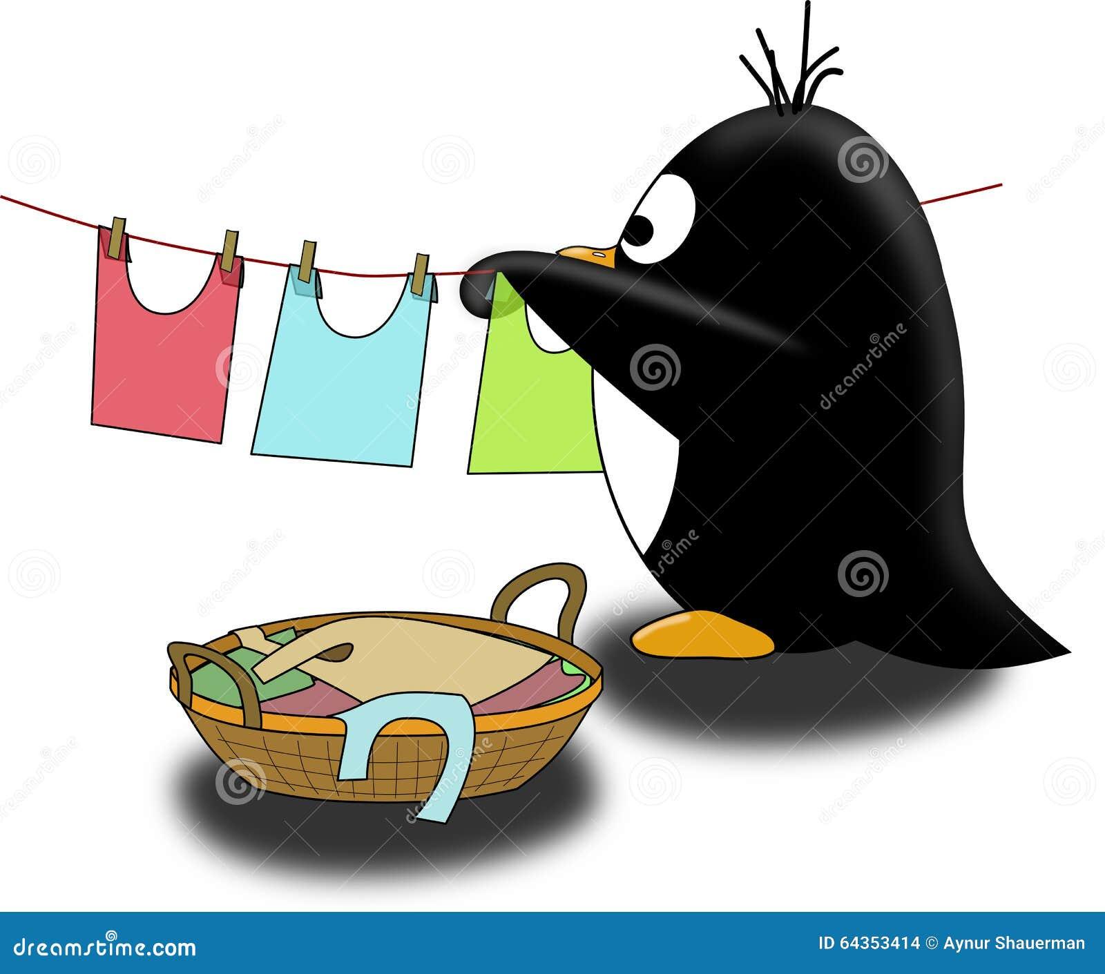 Penguin dry the linen stock illustration  Illustration of linen