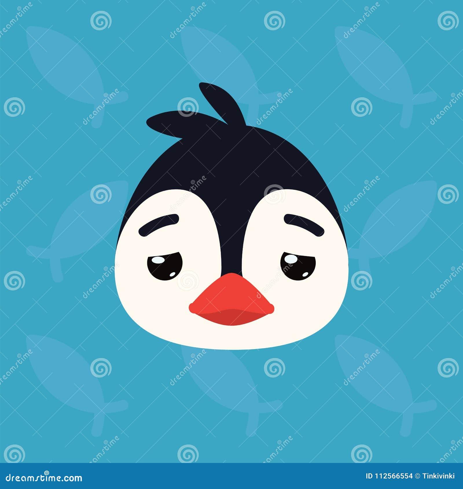 Penguin Emotional Head  Vector Illustration Of Cute Arctic Bird