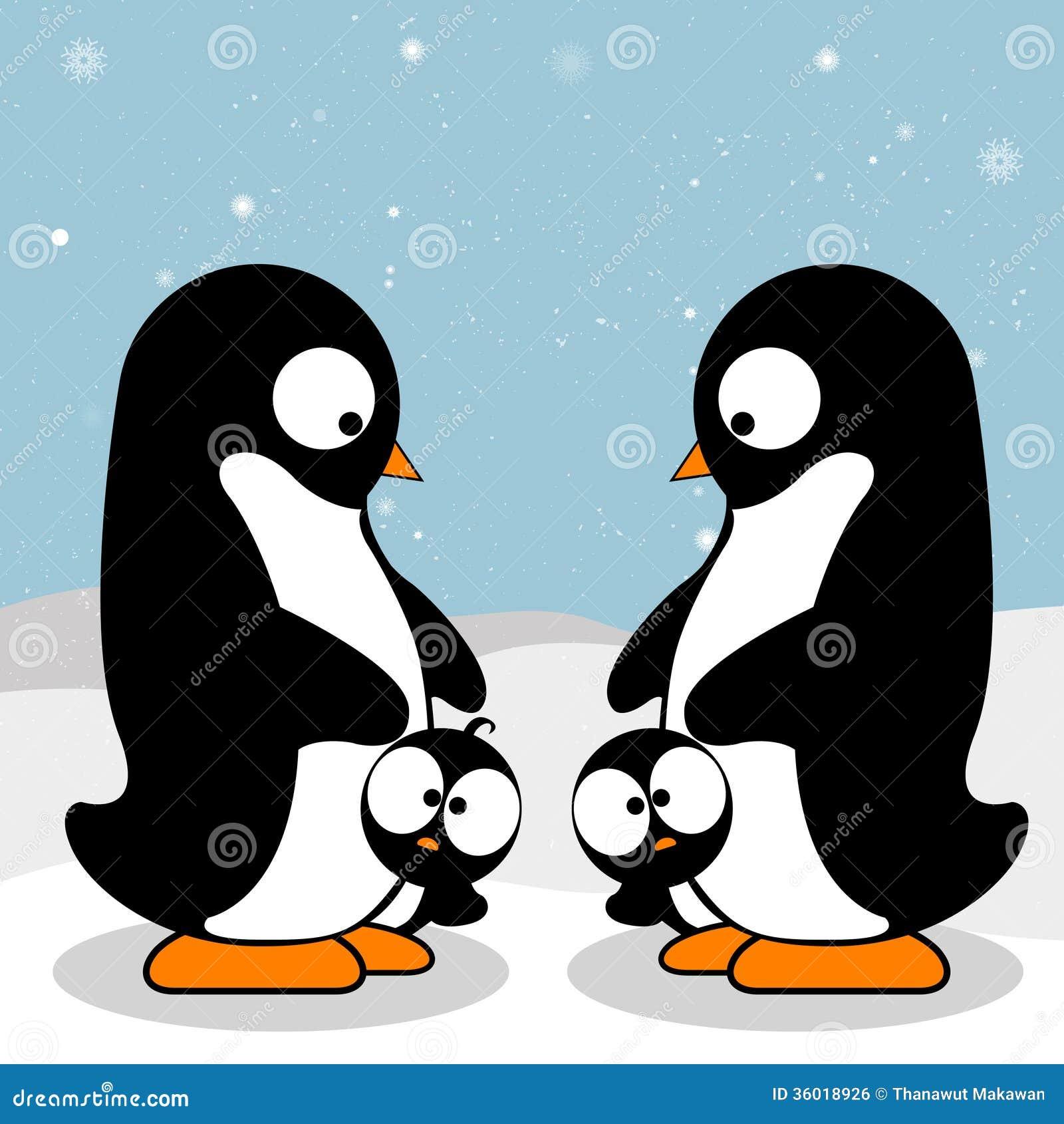 Penguin Family Stock Vector Illustration Of Blue Artwork