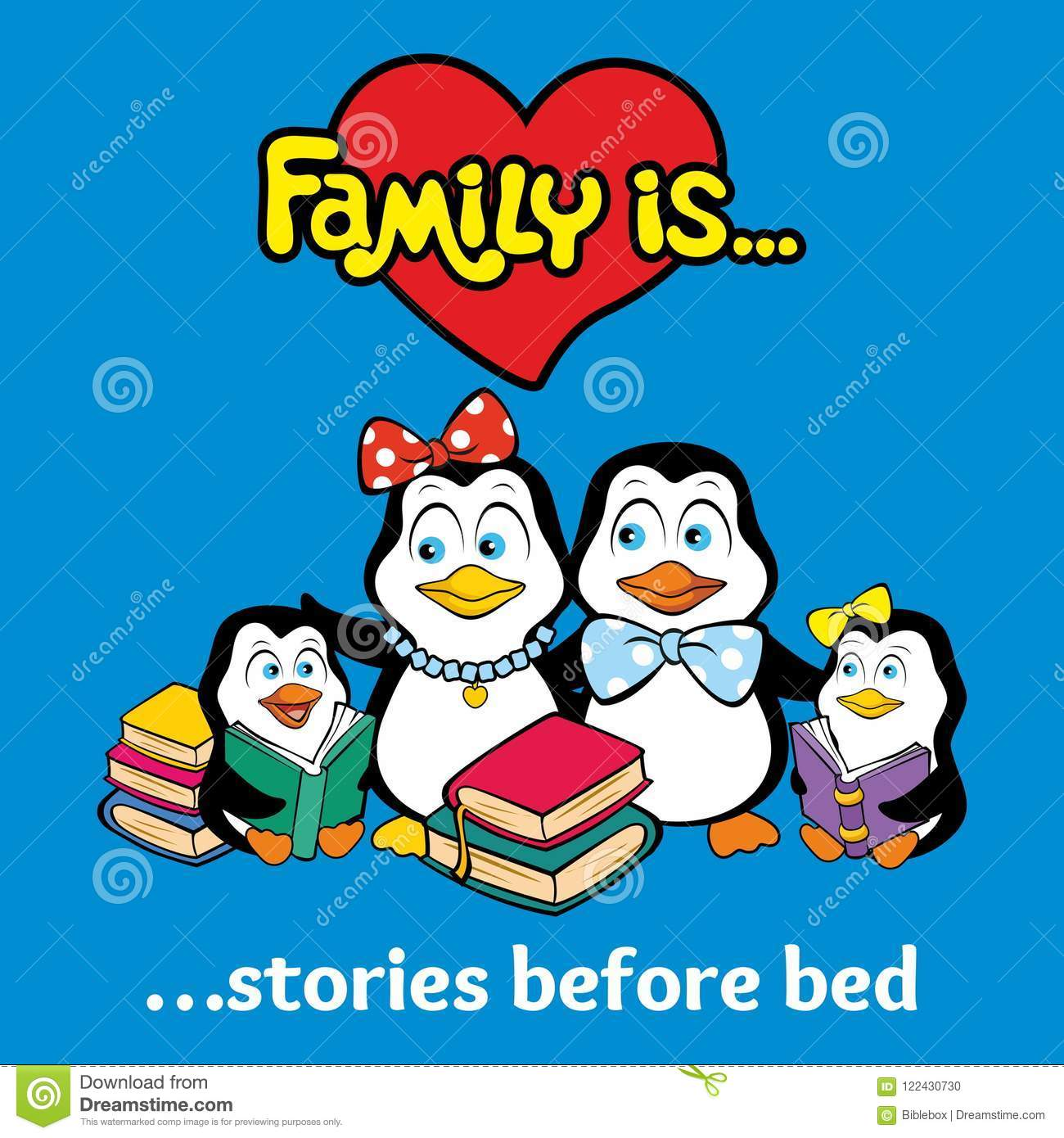 The penguin family reads fairy tales for the night.