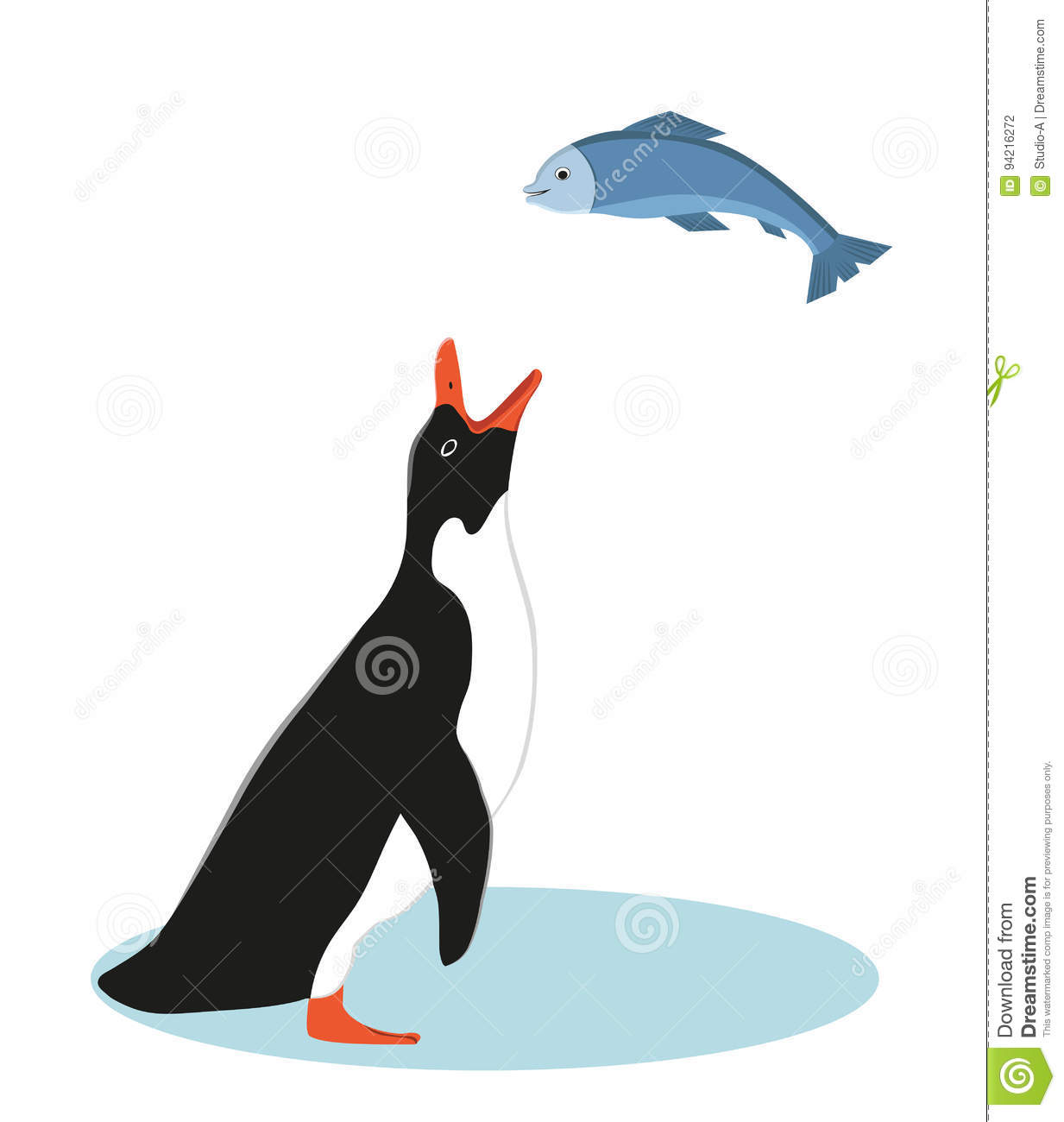 Penguin and fish vector illustration stock vector for Penguin and fish