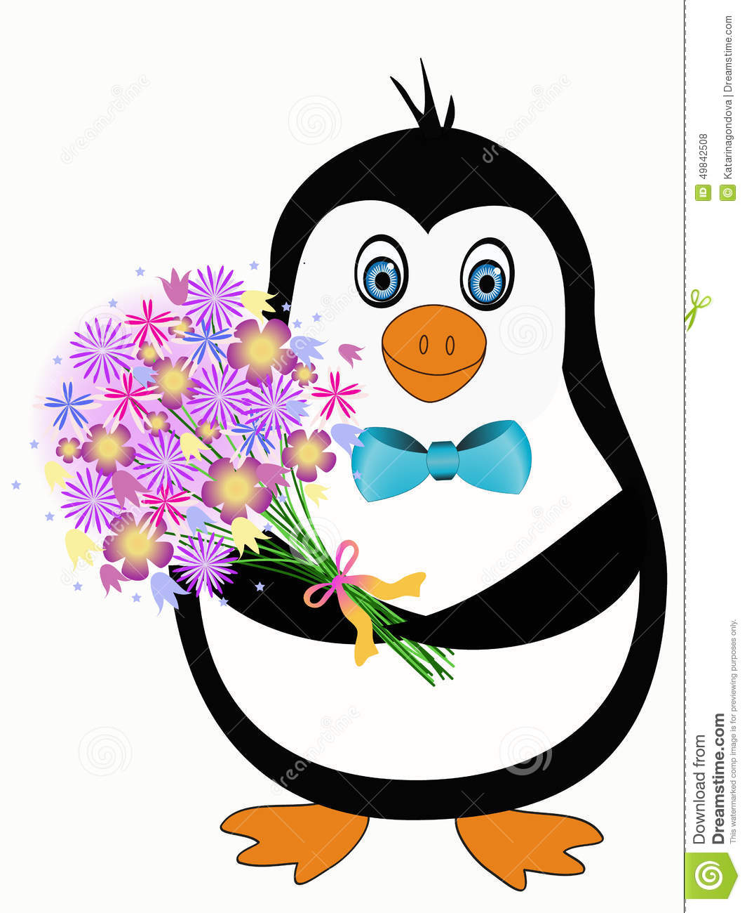 penguin with flowers stock vector illustration of animal 49842508