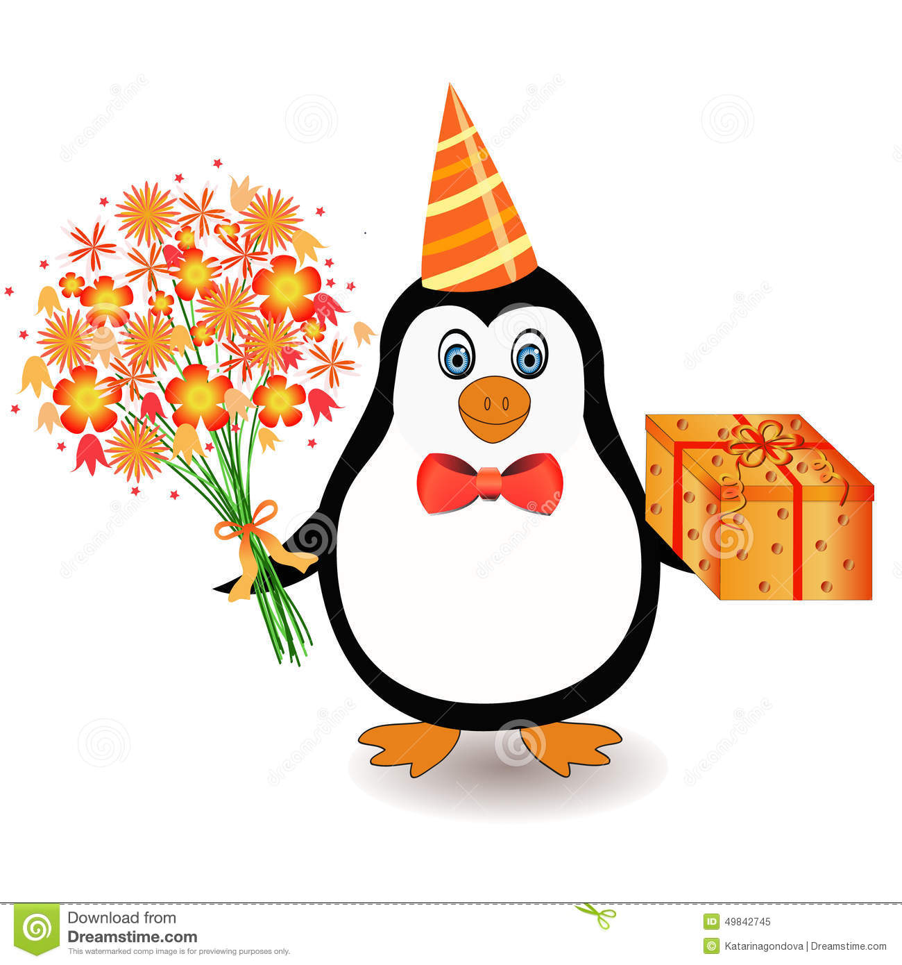 penguin with flowers stock vector illustration of celebration
