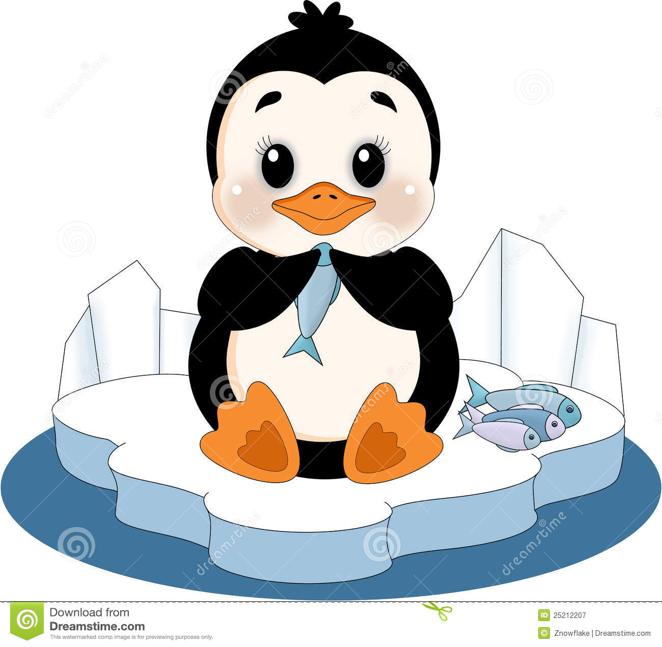 Penguin on ice floe stock illustration illustration of for Penguin and fish
