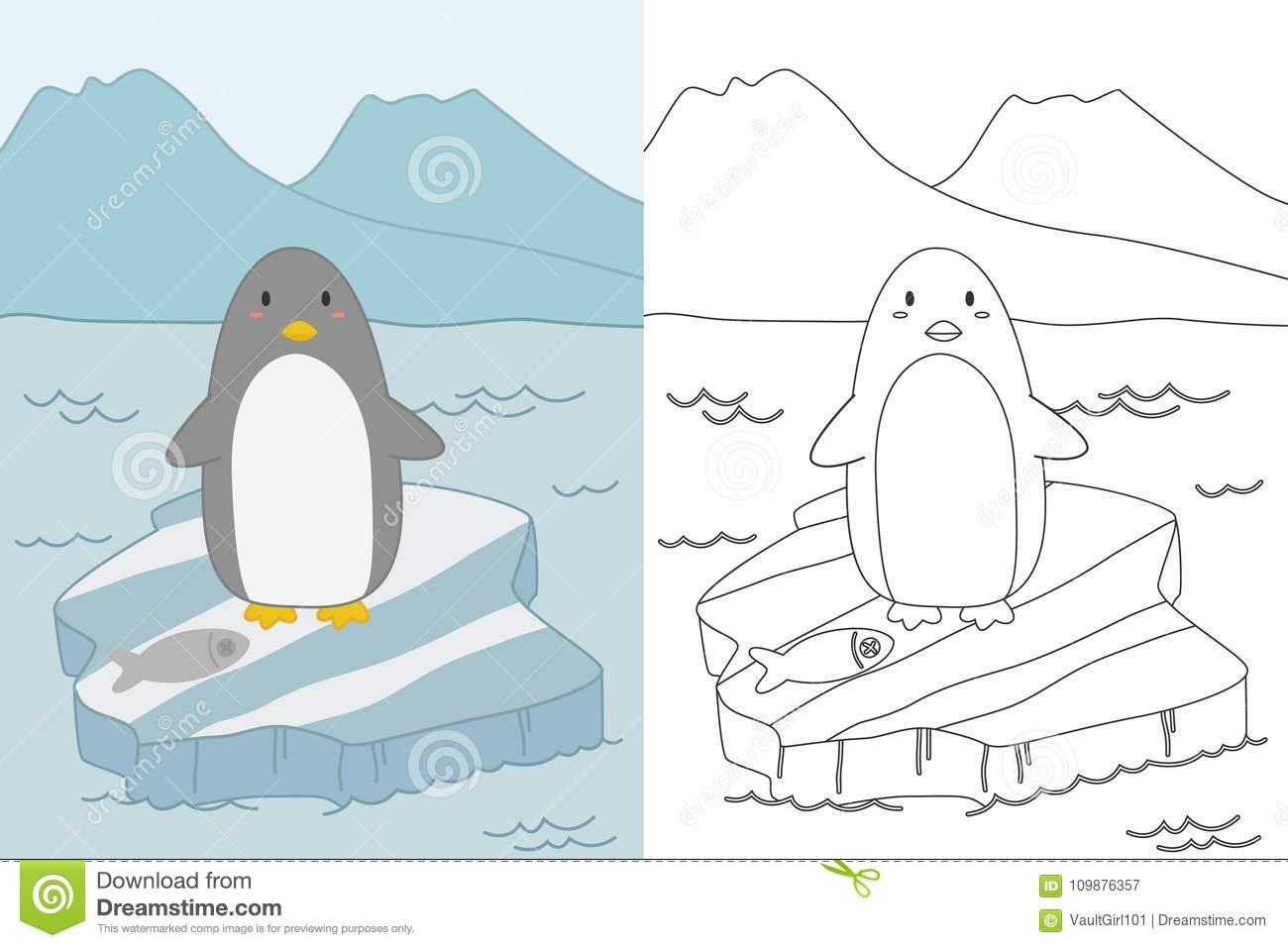 Penguin On Ice Floe Coloring Page Template Vector Stock Vector ...