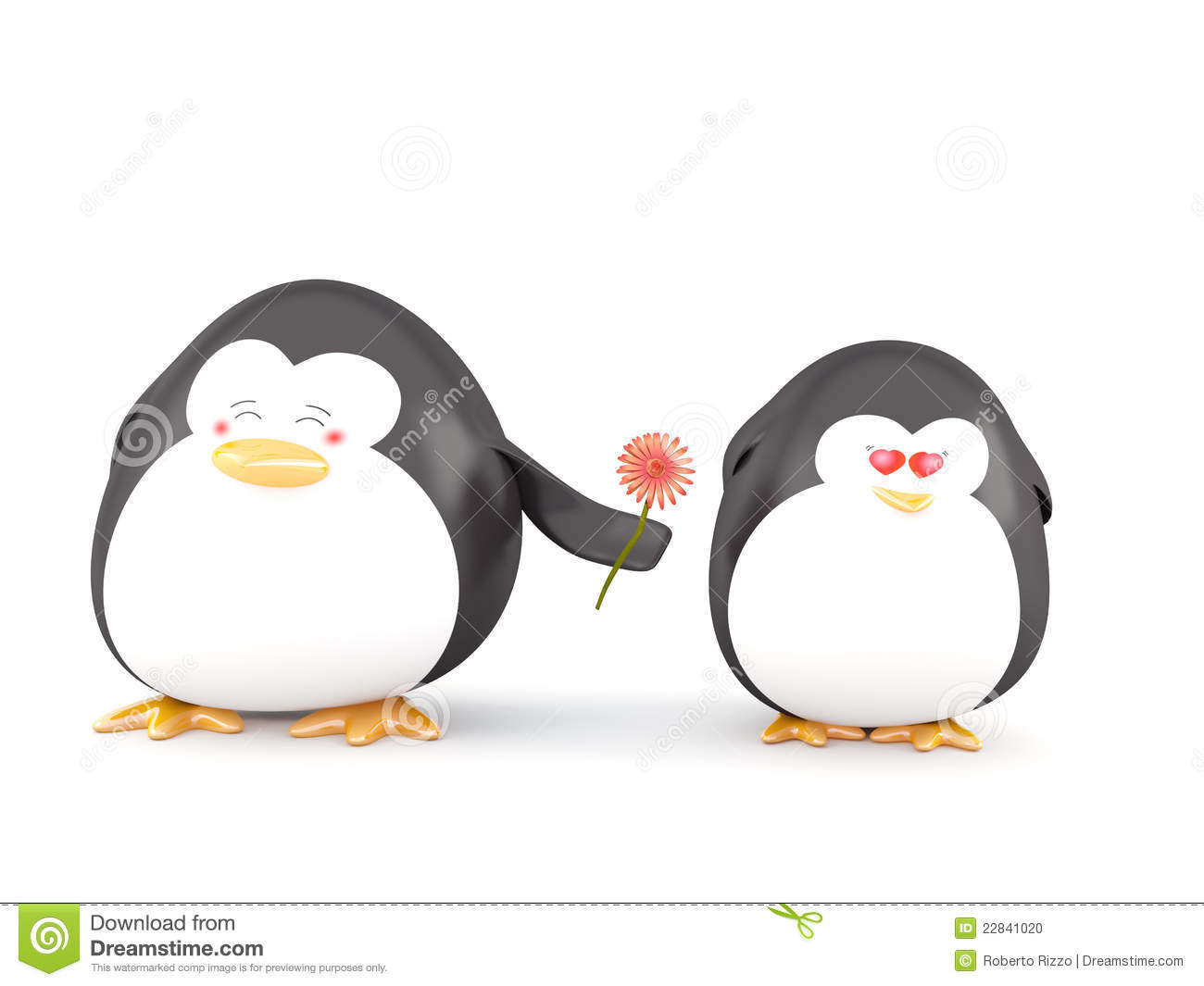 Penguins in Love, Isolated on White - 3D render.