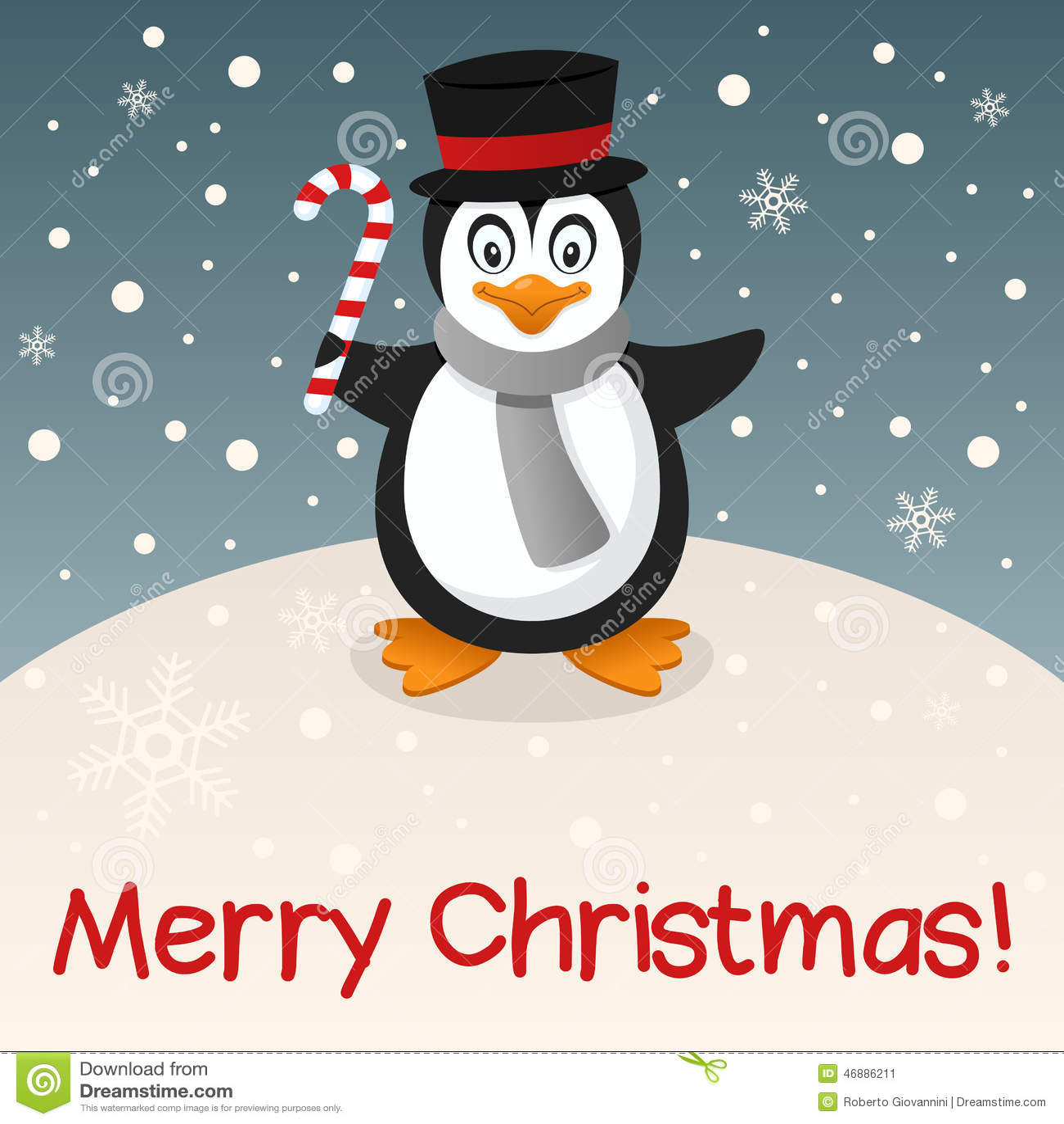 Penguin merry christmas card stock vector illustration for Penguin christmas cards homemade