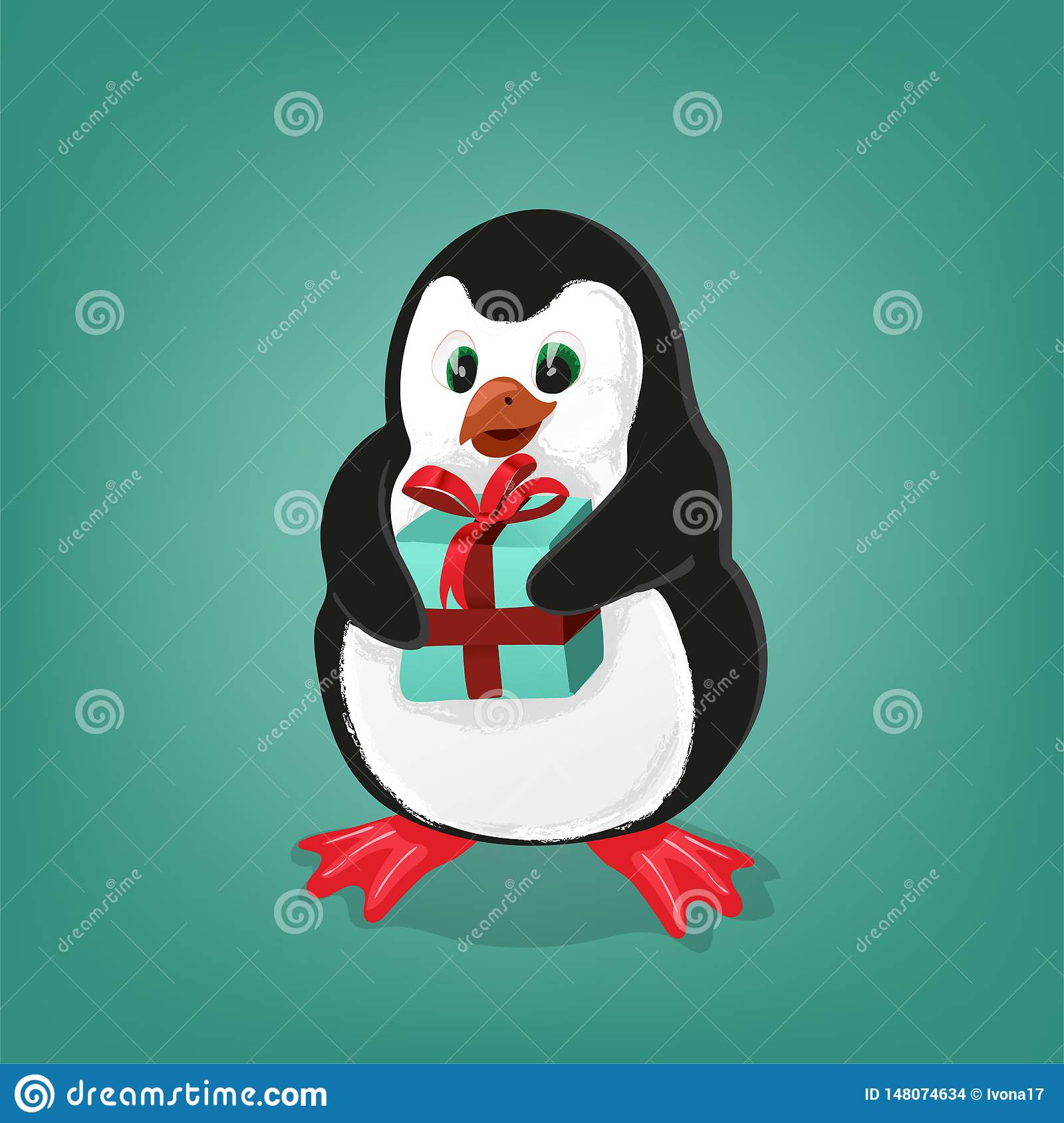 Penguin with present Christmas card vector illustration