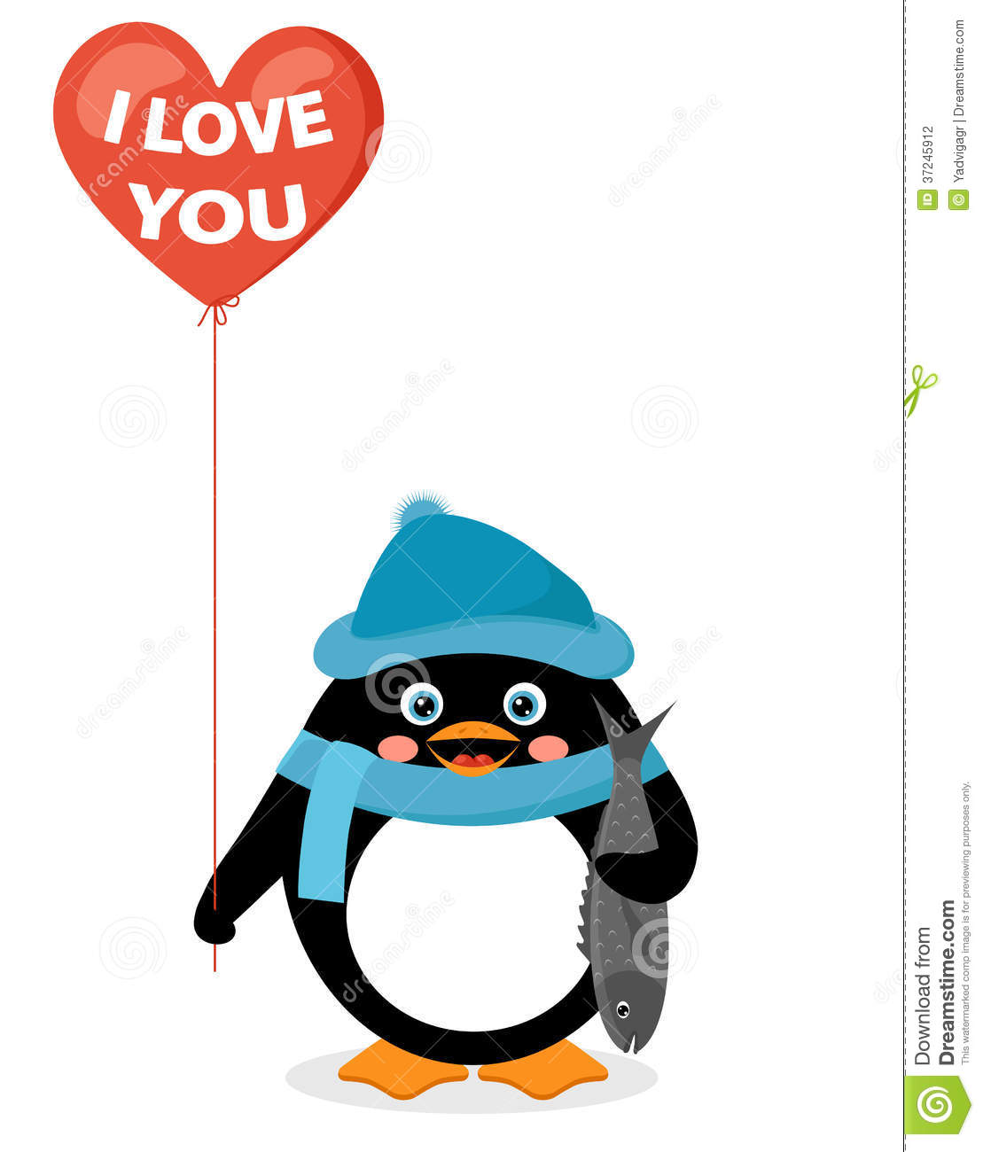 Penguin with red heart balloon and fish stock vector for Penguin and fish