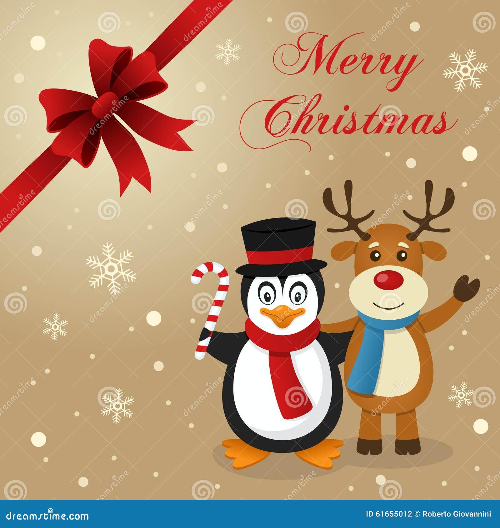 Penguin reindeer christmas card stock vector image for Penguin christmas cards homemade