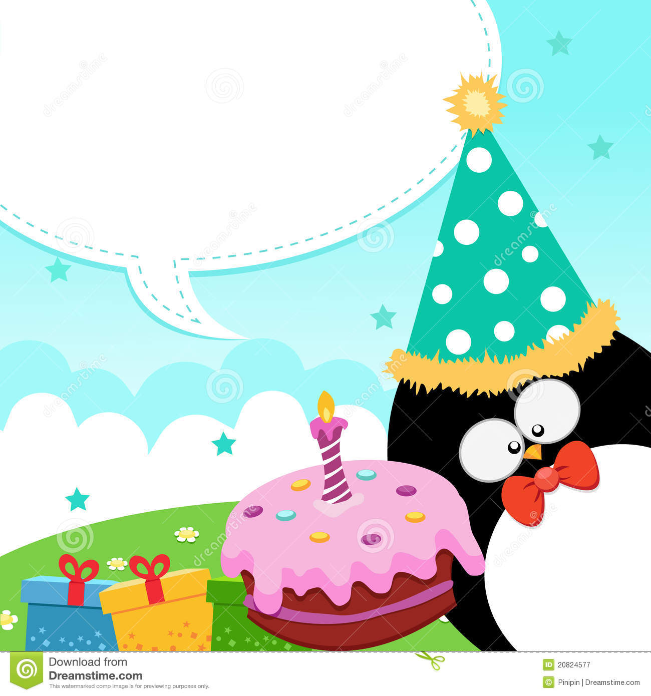 happy birthday card penguin stock photos, images,  pictures, Birthday card