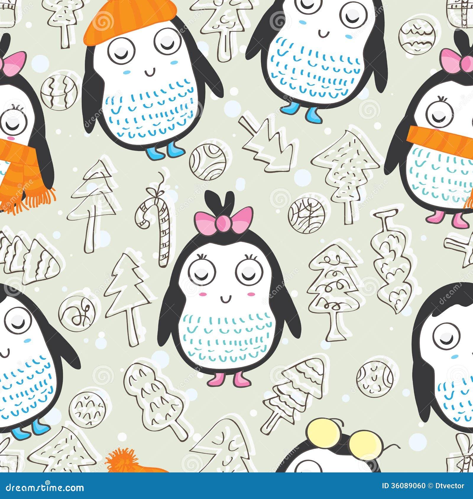 Christmas Penguin Template Penguin seamless pattern_eps