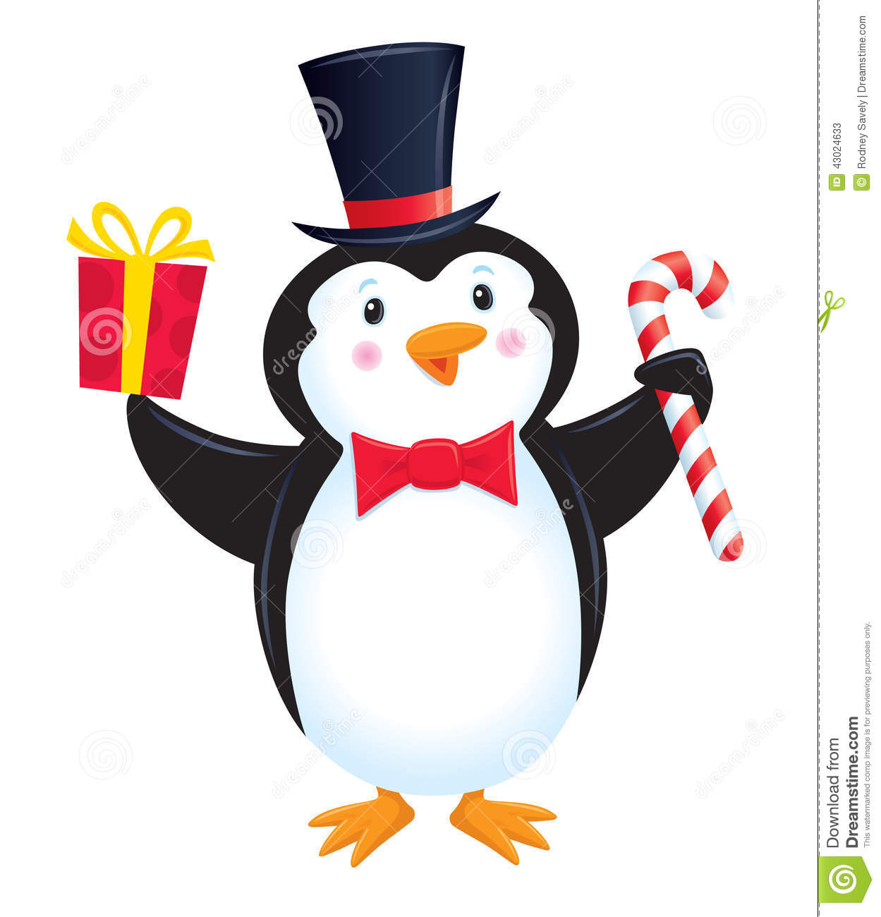 Cartoon illustration of a penguin in a top hat and bow tie, holding a ...