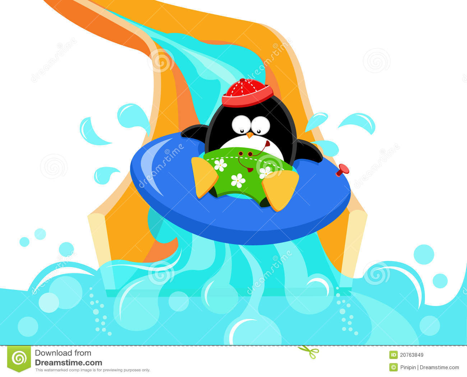 Kid N Play Cartoon Characters : Penguin on water slide stock vector illustration of