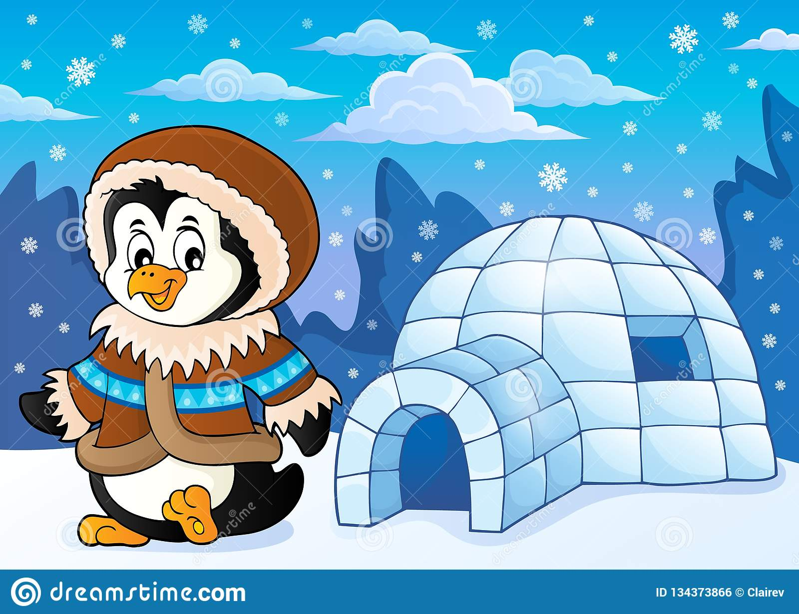 63be9eb41bfe Penguin in winter clothing theme 2 - eps10 vector illustration. More  similar stock illustrations