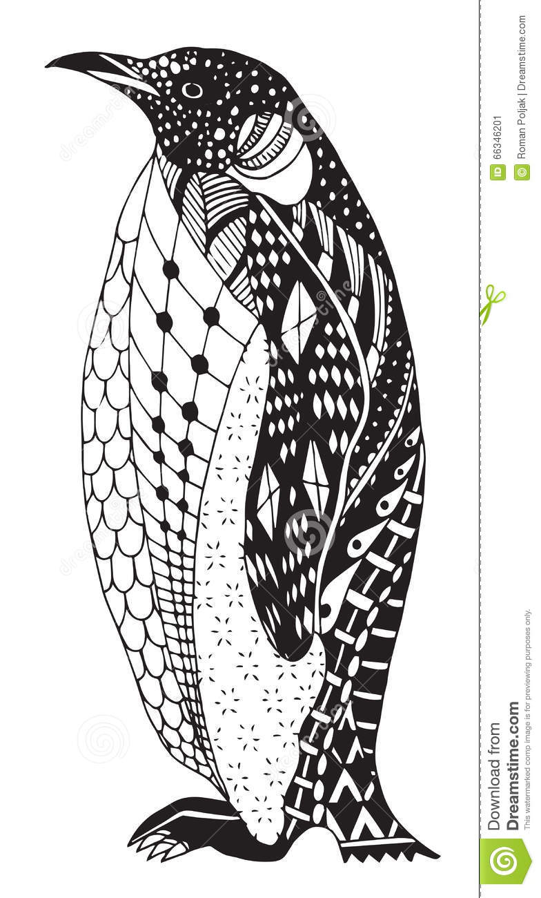 Penguin zentangle stylized vector illustration freehand for Penguin adult coloring pages