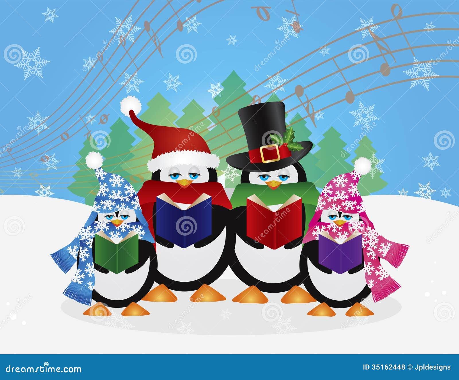 Penguins Christmas Carolers Snow Scene Illustration Stock