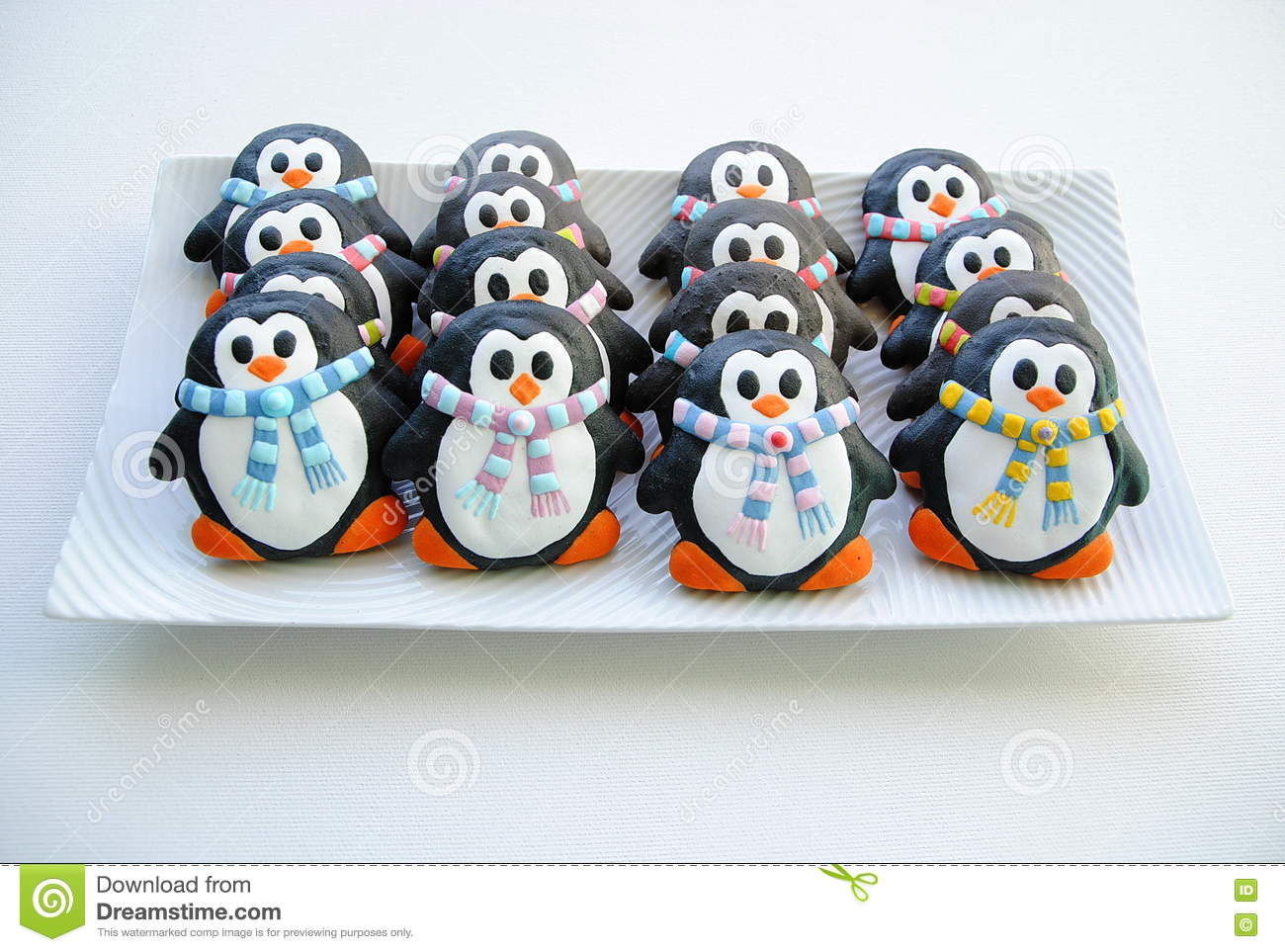 Penguins Christmas Cookies For Kids Stock Photo Image Of