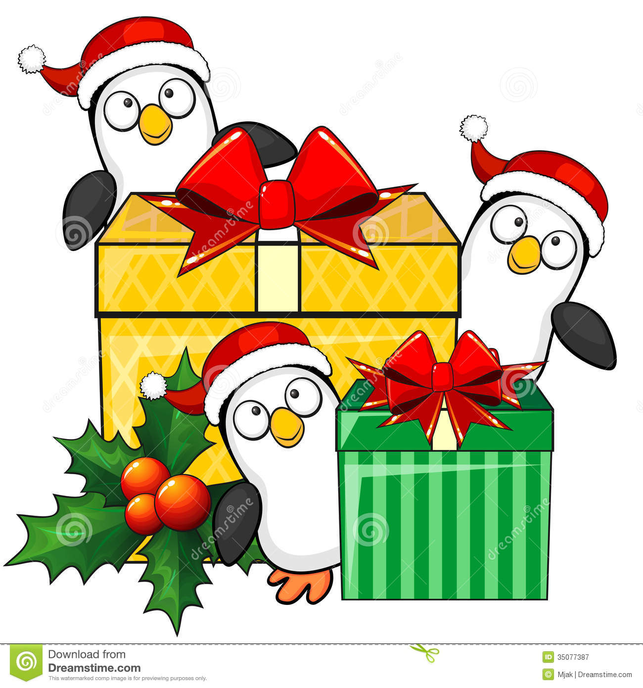 Cartoon Christmas Toys : Penguins and christmas gifts stock vector image