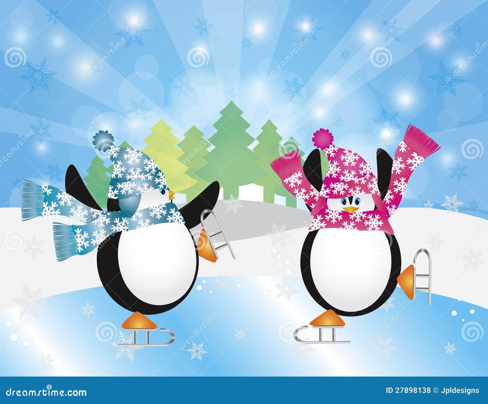 Penguins Ice Skates In...