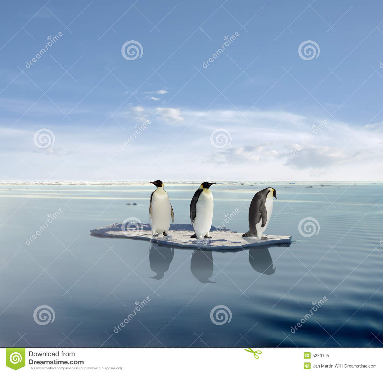 Penguins On Melting Iceberg Royalty Free Stock Photo - Image: 5280195