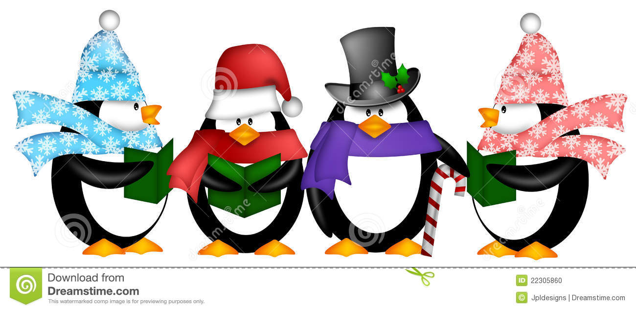penguins singing christmas carol cartoon clipart stock illustration