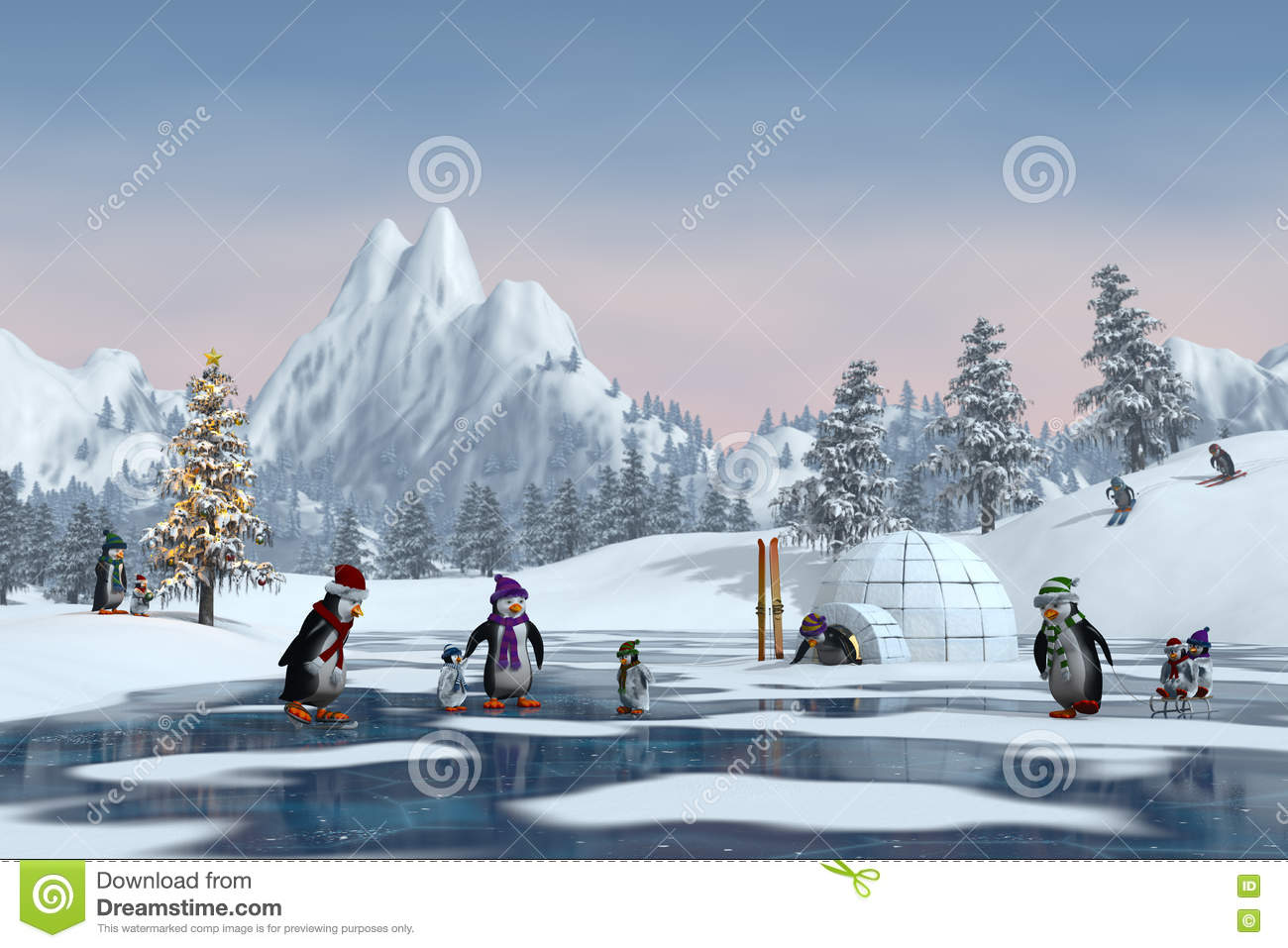 penguins in a snowy christmas mountain landscape 3d render - Christmas Mountain